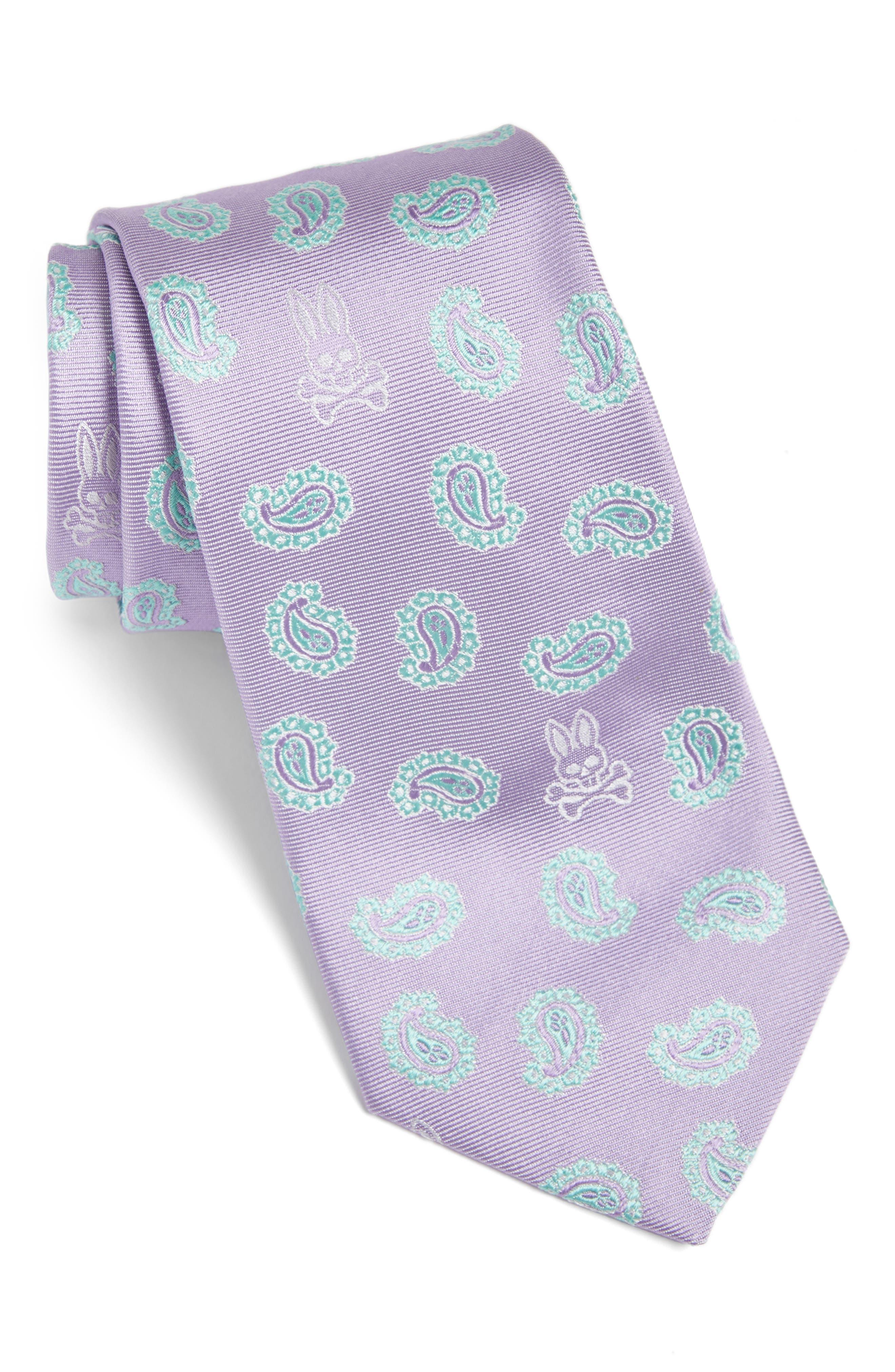 Paisley Bunny Silk Tie,                             Main thumbnail 1, color,                             Lilac