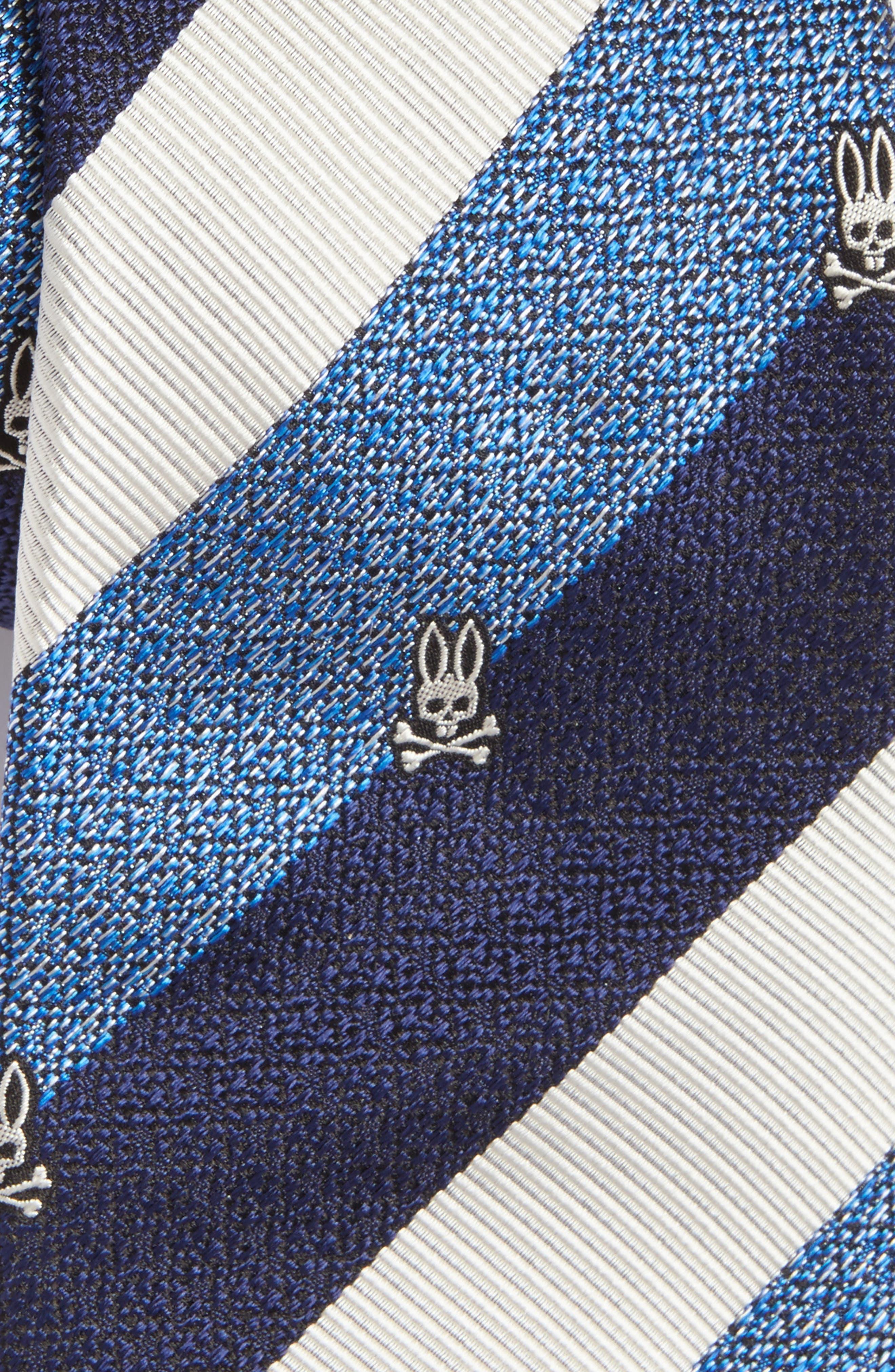 Wide Stripe Silk Tie,                             Alternate thumbnail 2, color,                             Blue