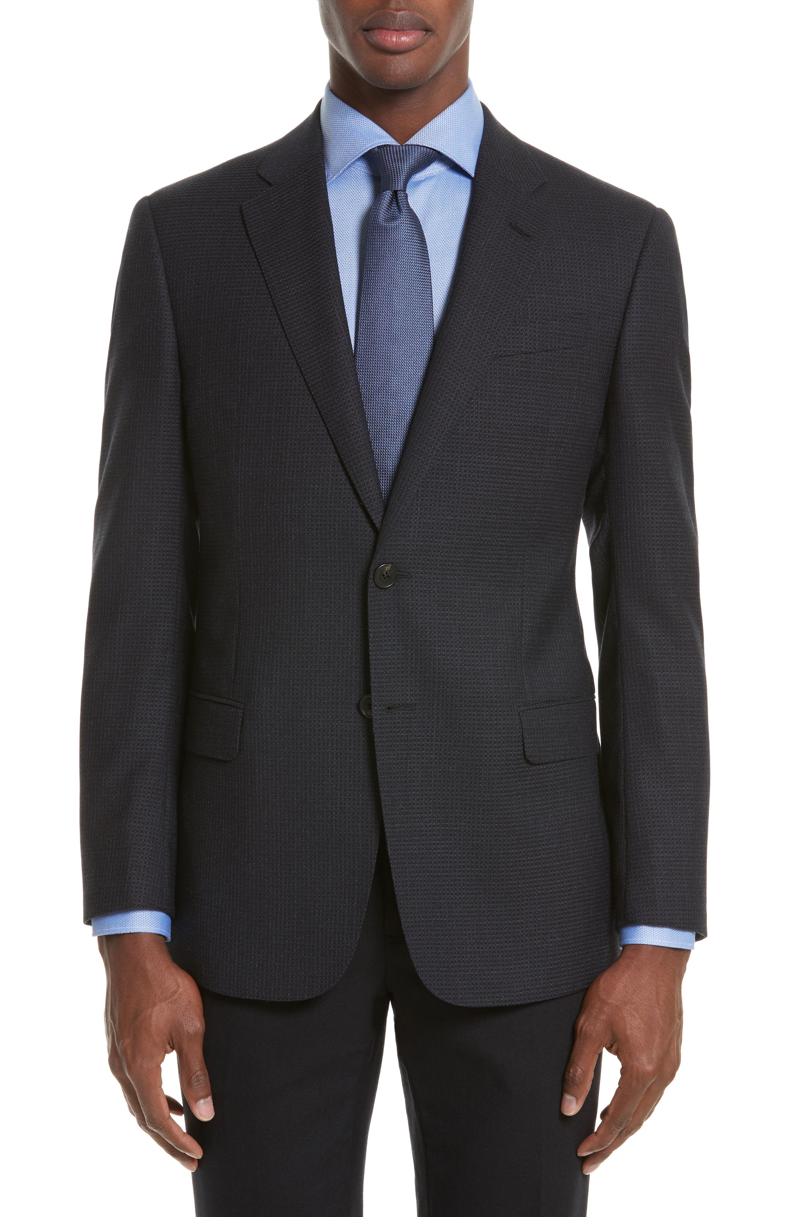 Trim Fit Check Wool Sport Coat,                             Main thumbnail 1, color,                             Navy