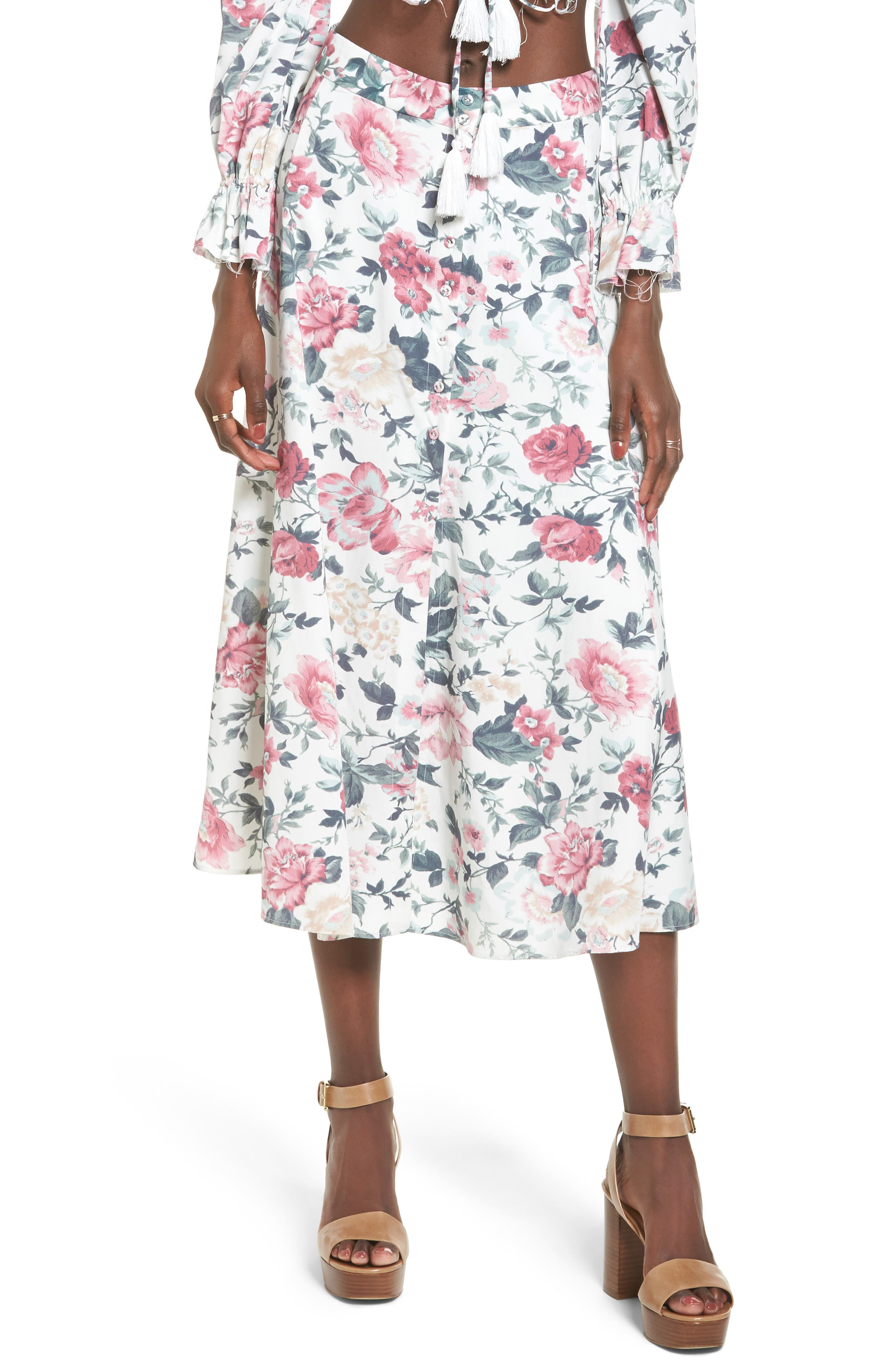 Sunday Midi Skirt,                             Main thumbnail 1, color,                             Carnation