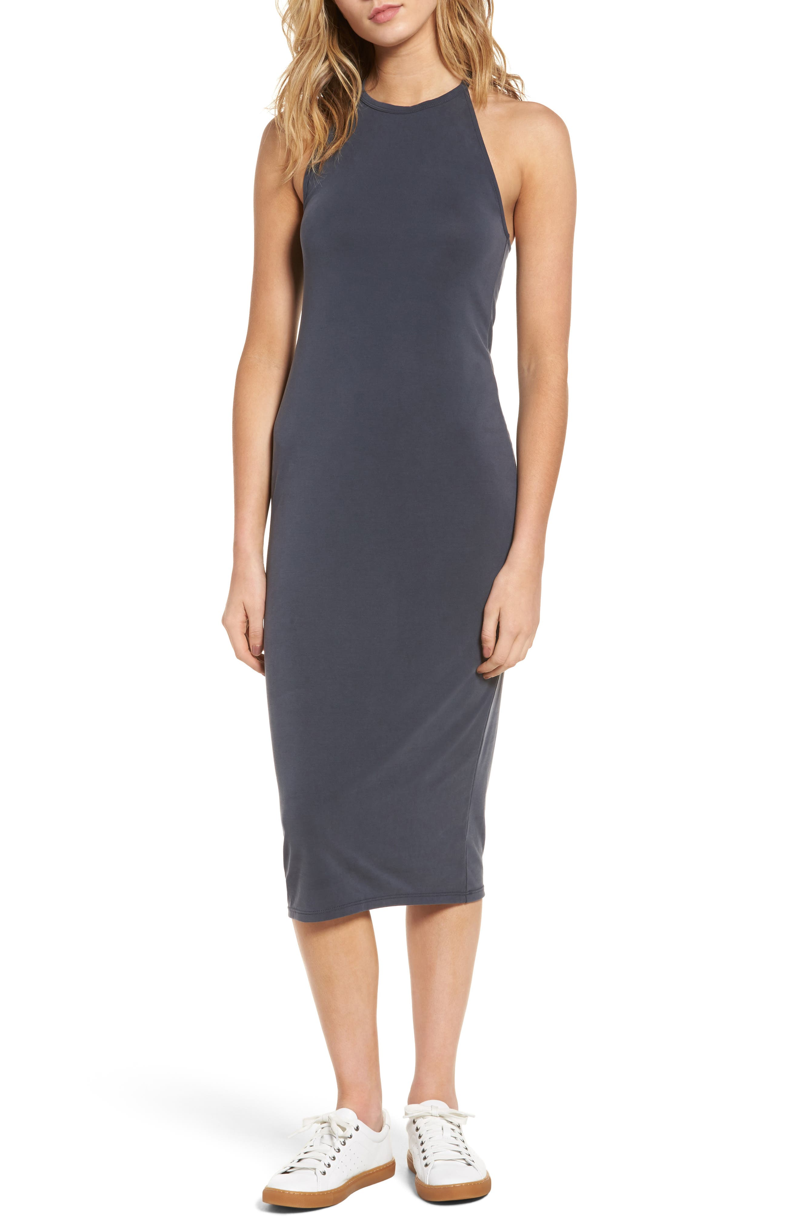Cutaway Tank Dress,                         Main,                         color, Grey Ebony