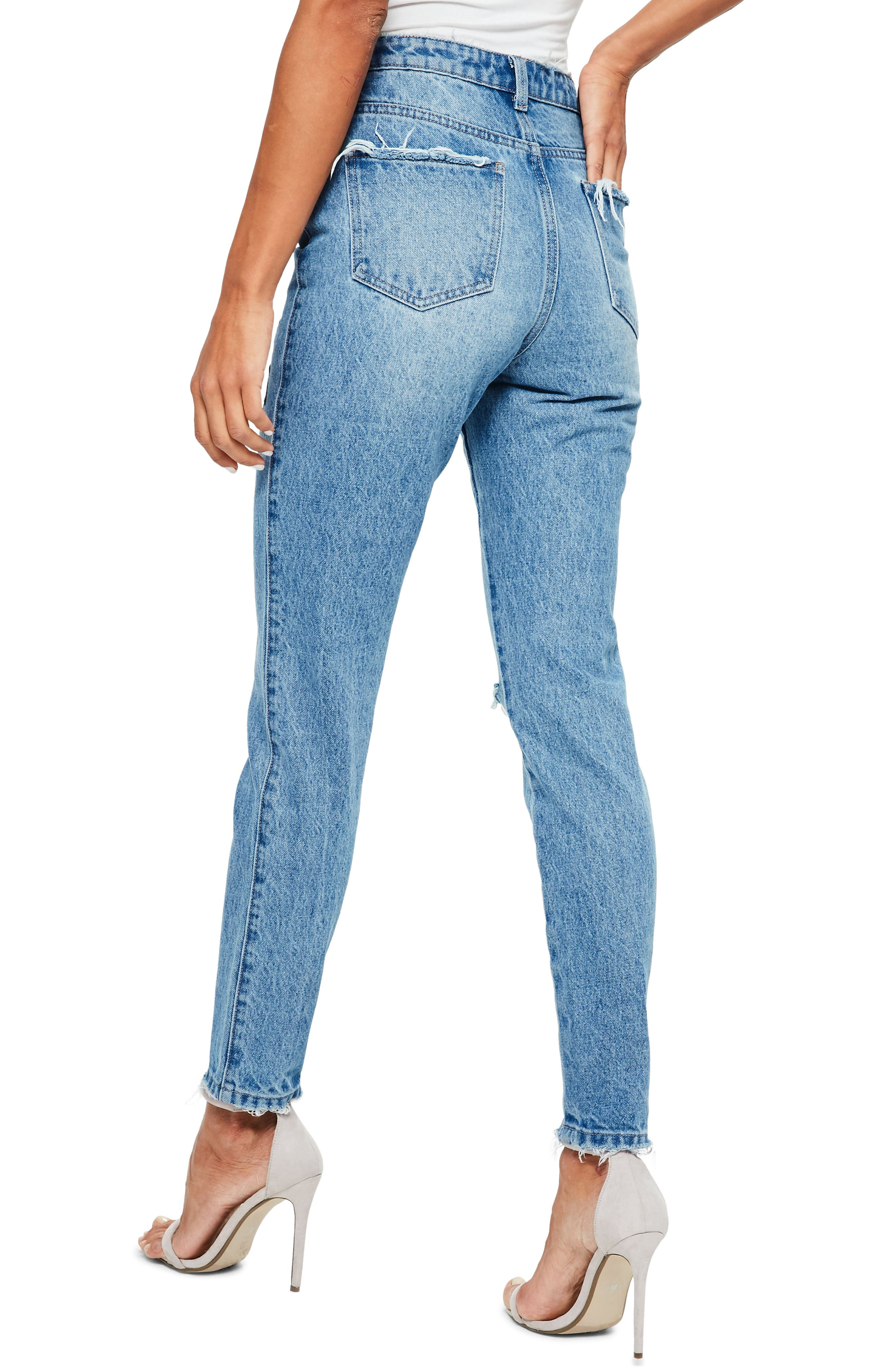 Riot Ripped High Waist Embroidered Jeans,                             Alternate thumbnail 2, color,                             Blue