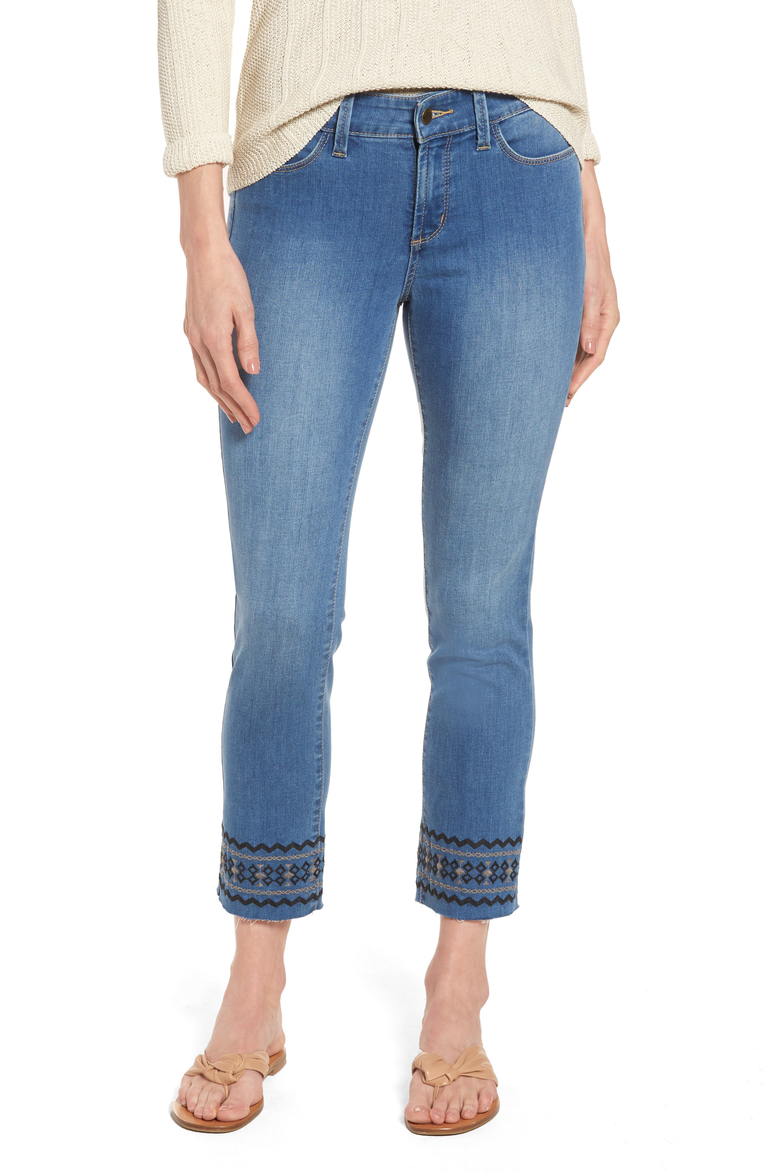 Alternate Image 1 Selected - NYDJ Sheri Embroidered Stretch Slim Crop Jeans (Evansdale)
