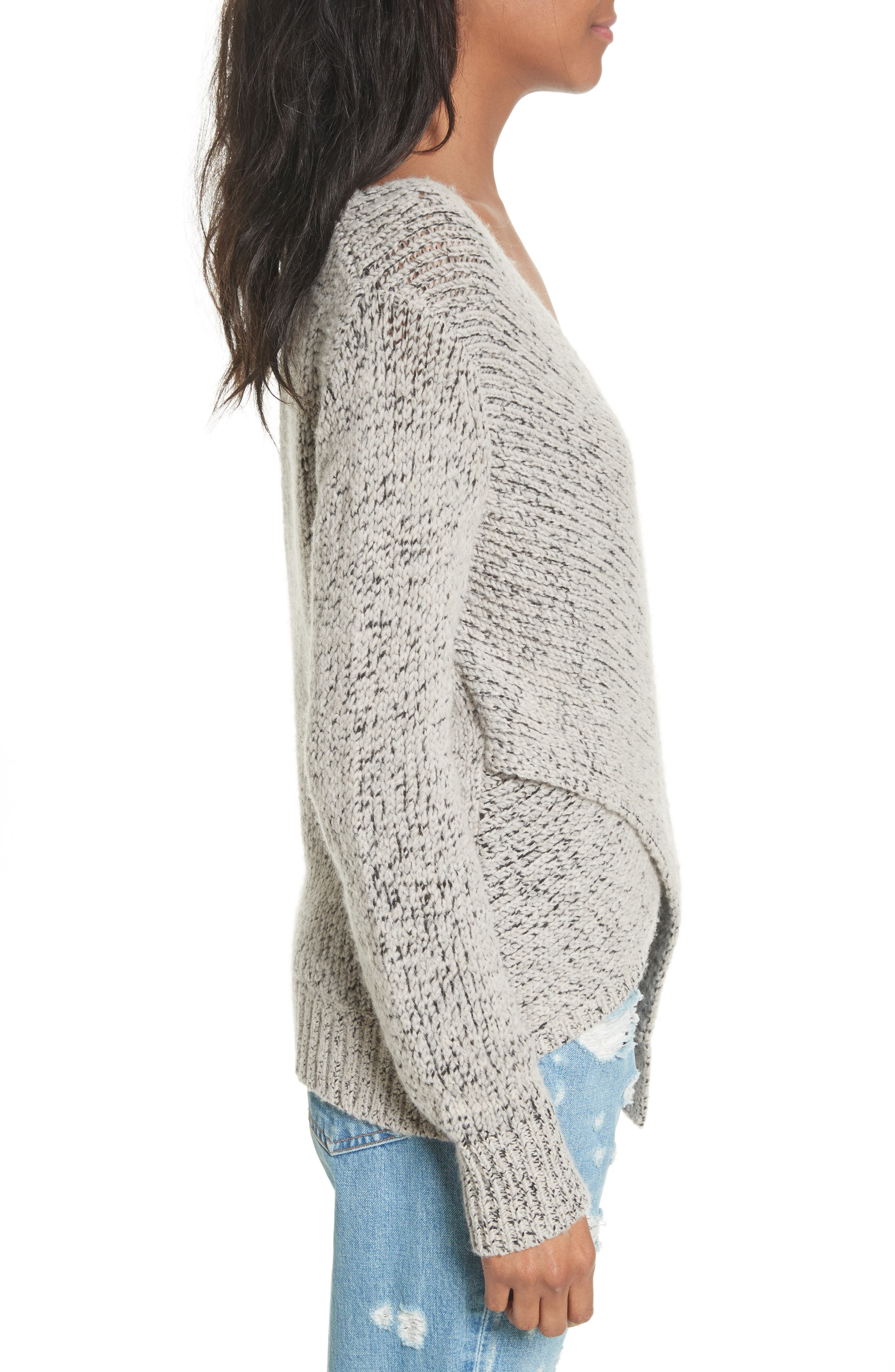Asymmetrical Cross Front Sweater,                             Alternate thumbnail 3, color,                             Natural