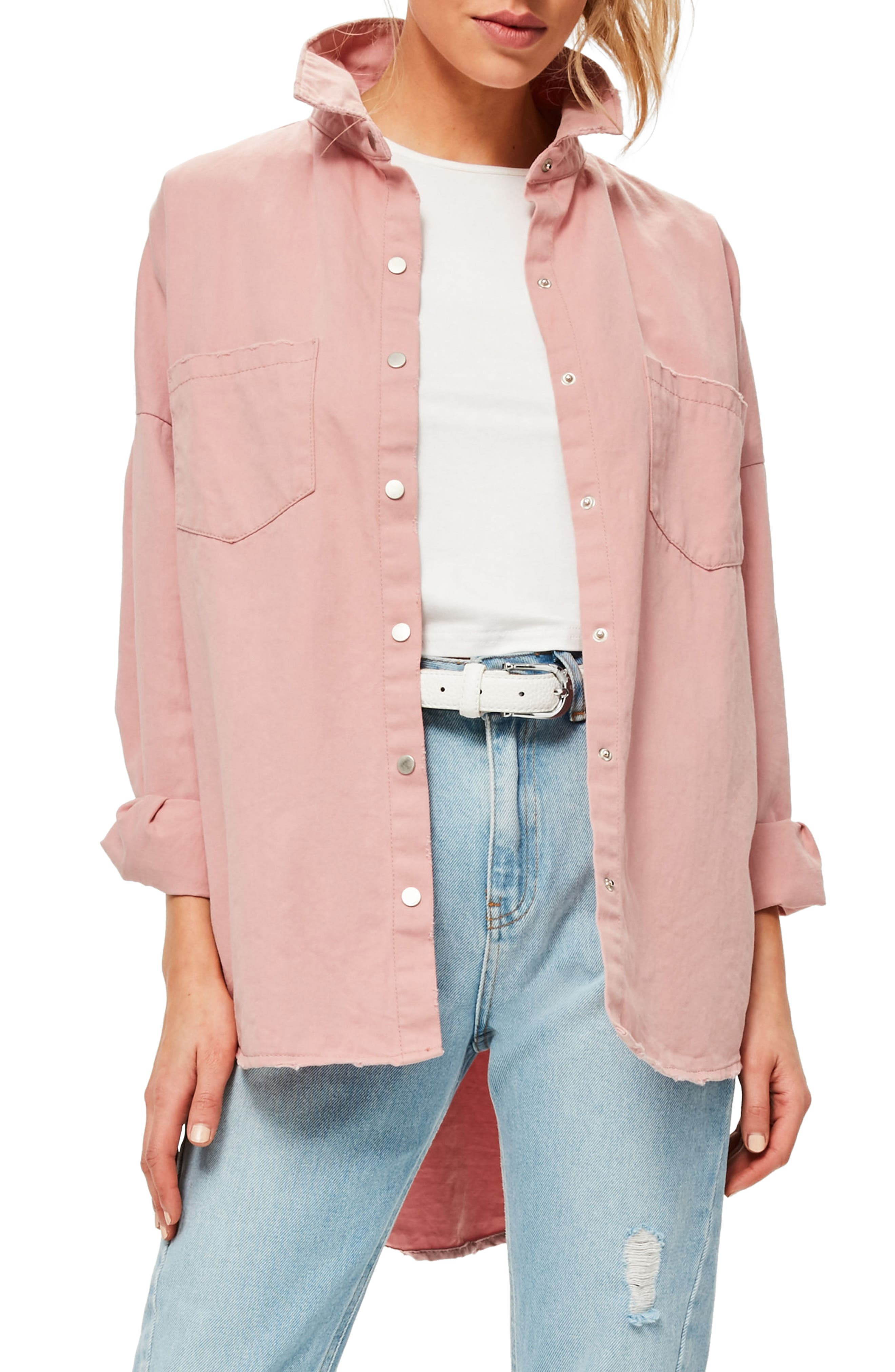 Back Graphic Oversize Denim Shirt,                             Main thumbnail 1, color,                             Pink