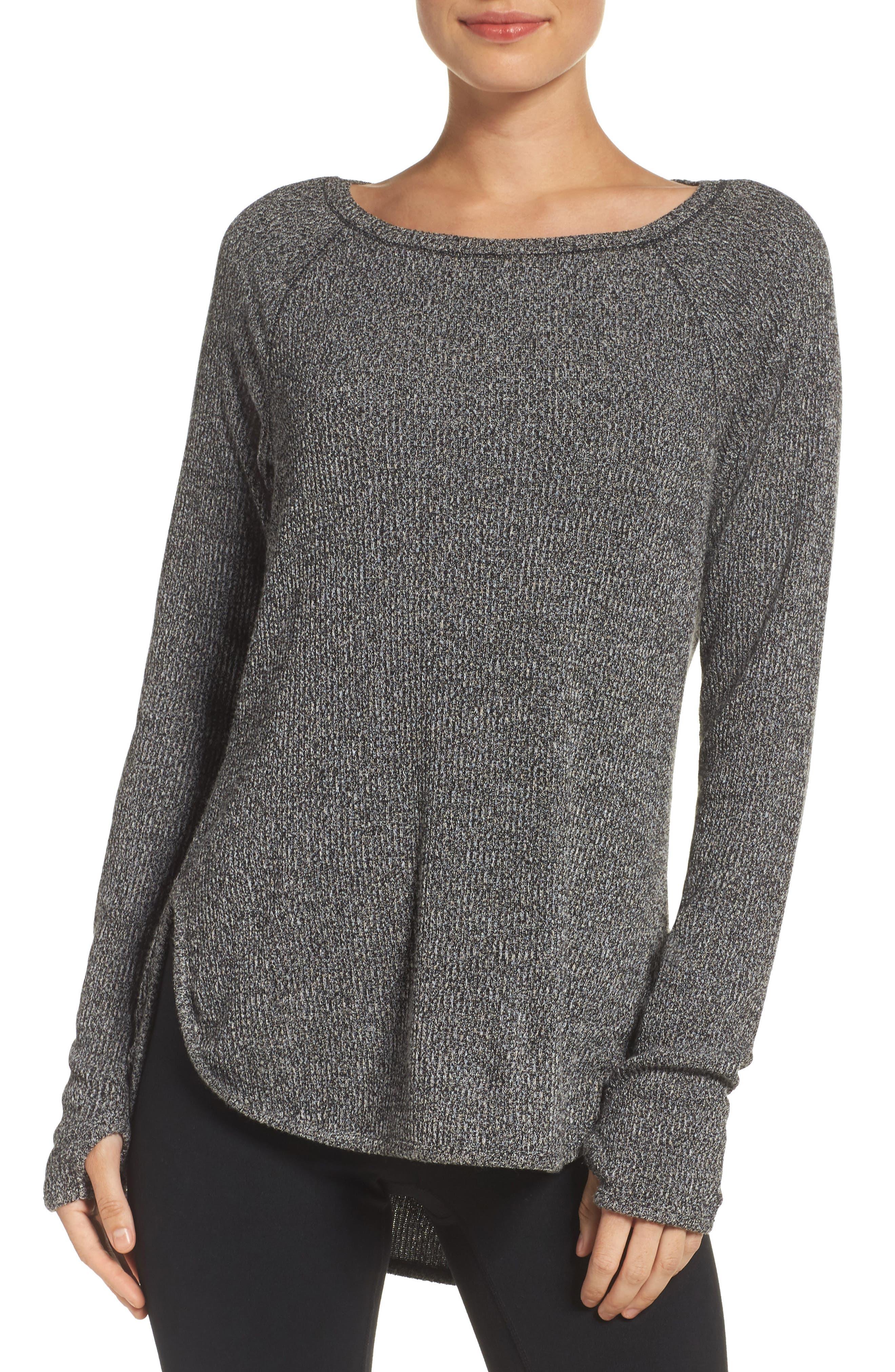 Don't Sweat It Sweater,                         Main,                         color, Black Heather