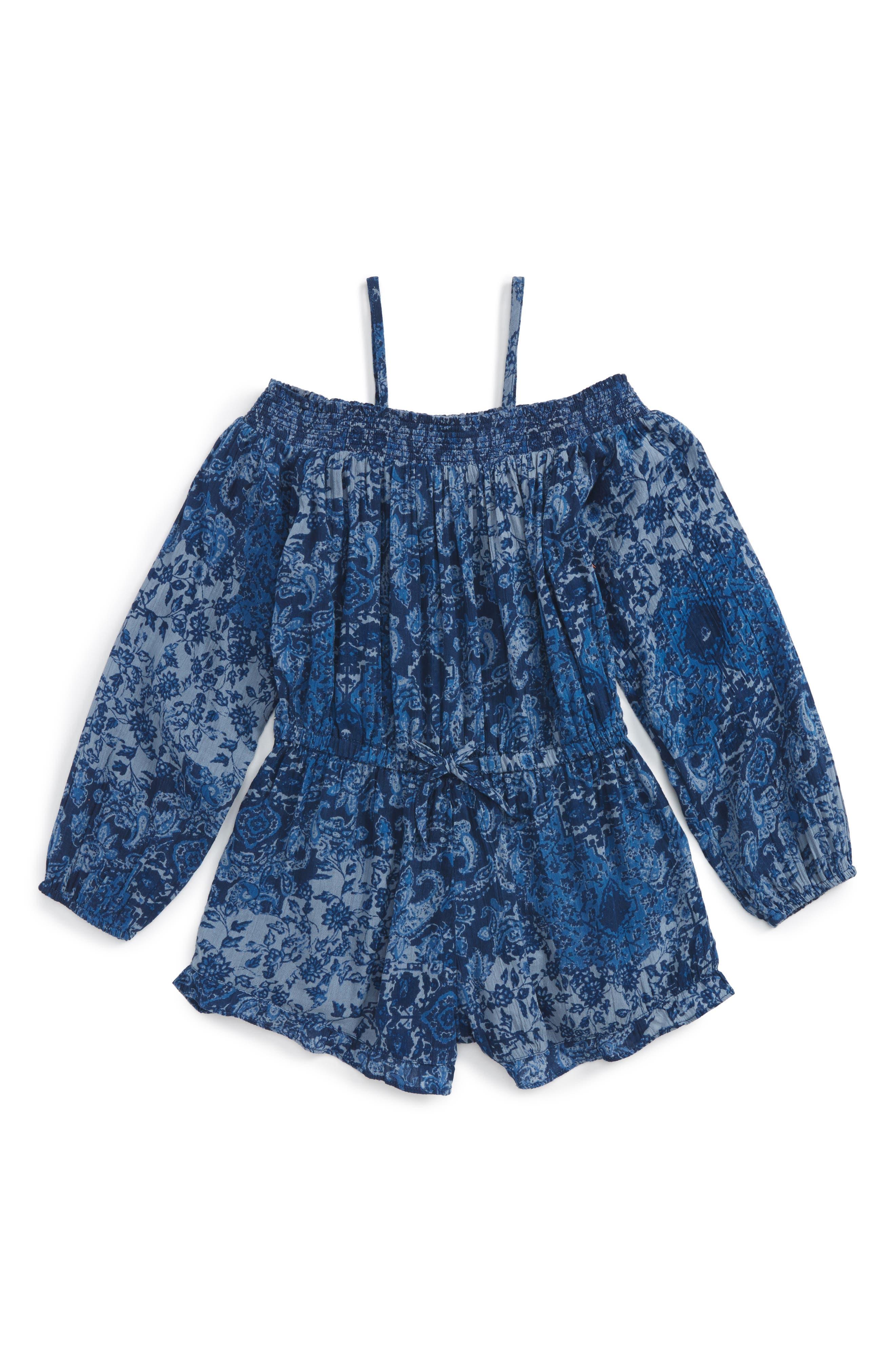 Smocked Romper,                         Main,                         color, Blue Stonewash Patchwork