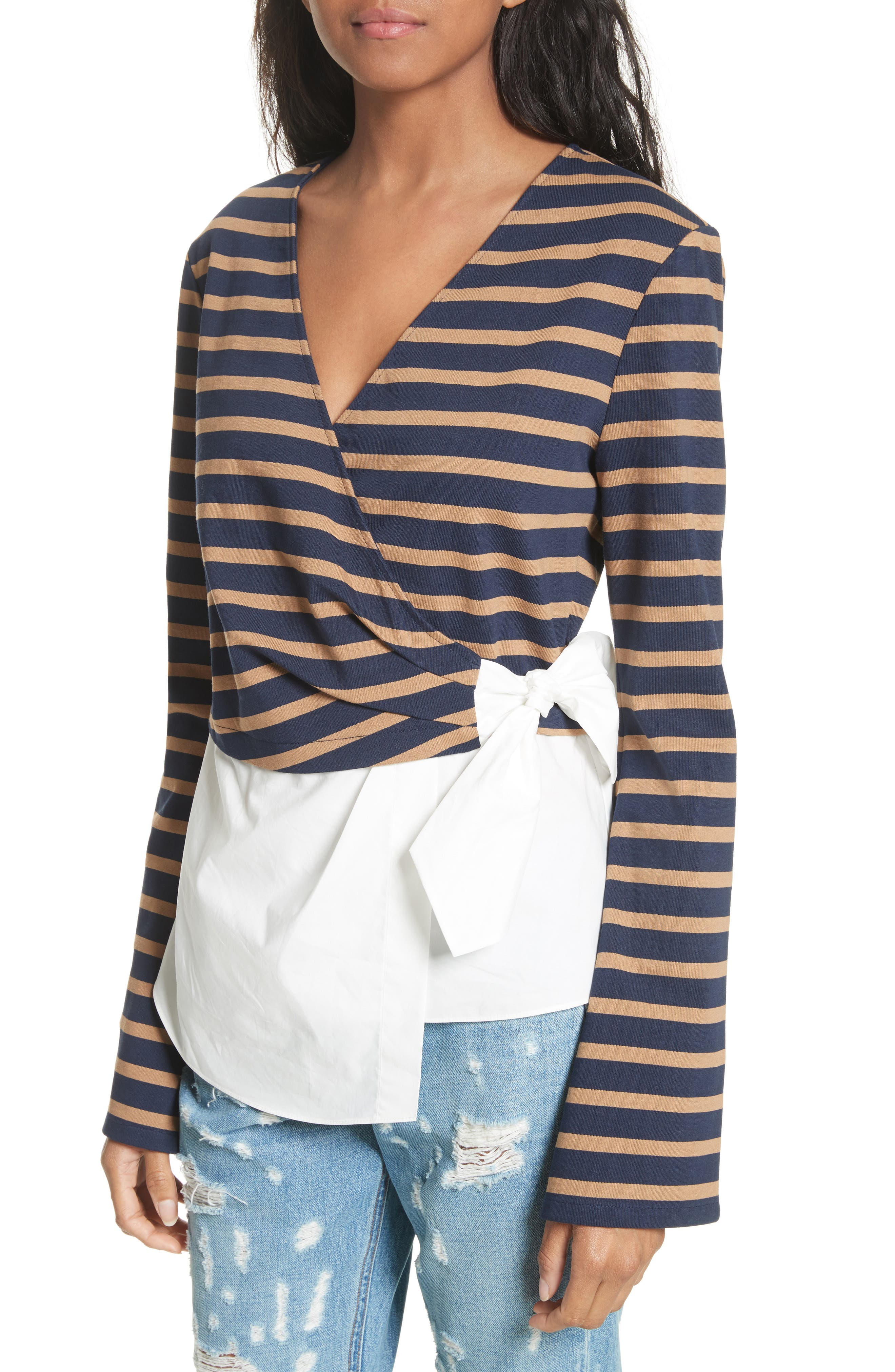 Stripe Wrap Top with Poplin Shirting Combo,                             Alternate thumbnail 4, color,                             Midnight/ Army