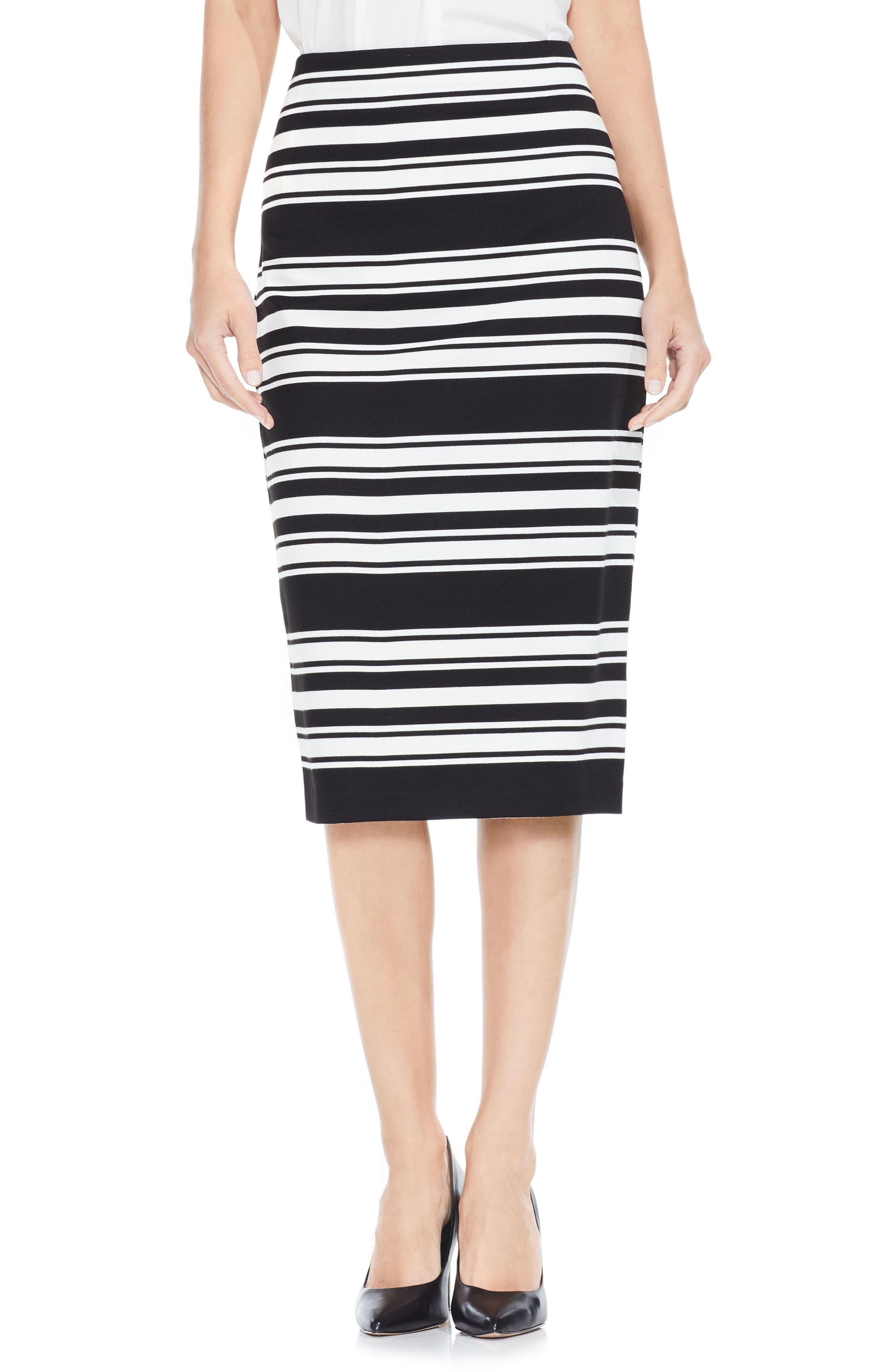 Vince Camuto Stripe Ponte Pencil Skirt