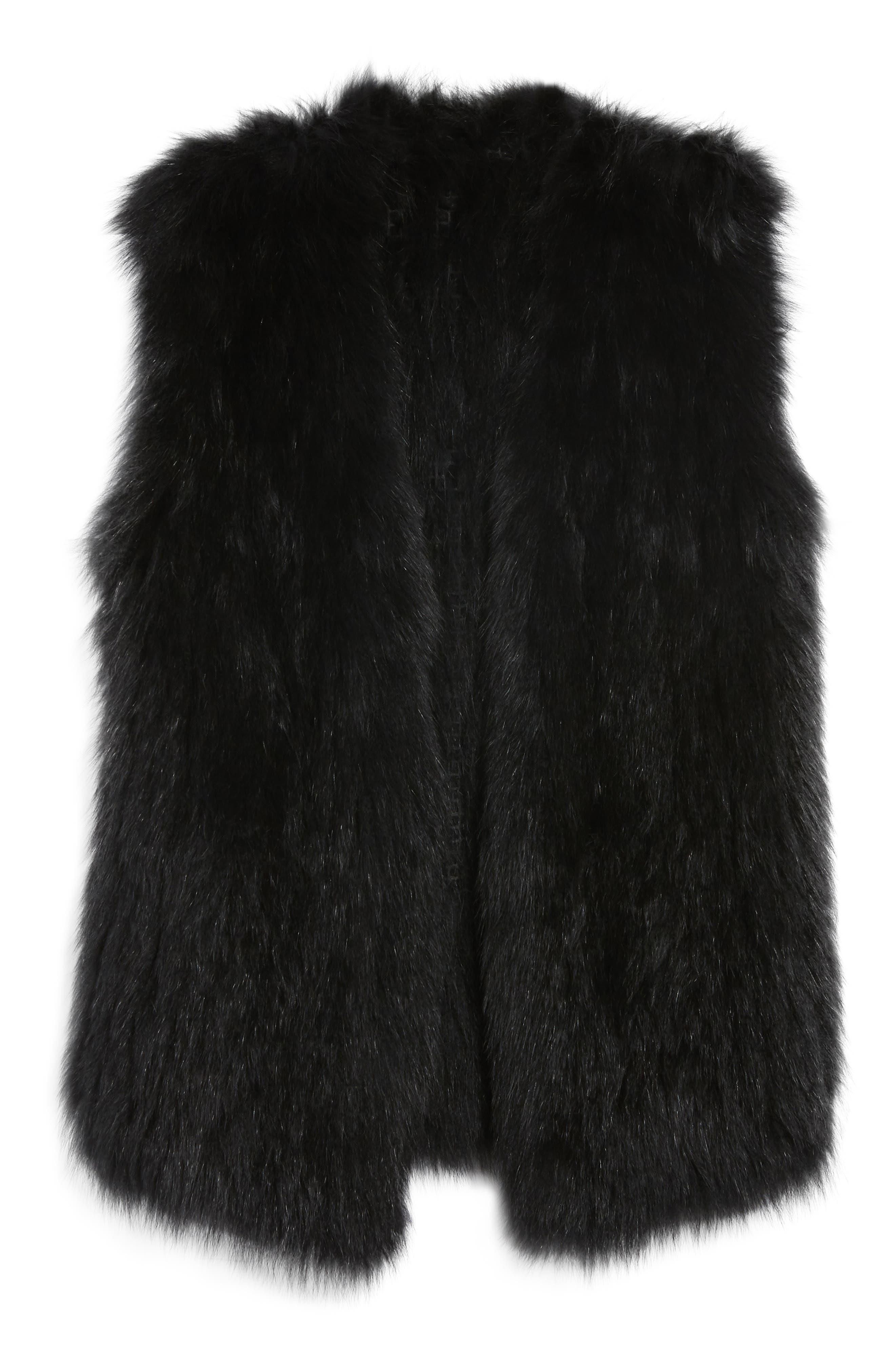 Genuine Fox Fur Vest,                             Alternate thumbnail 6, color,                             Black