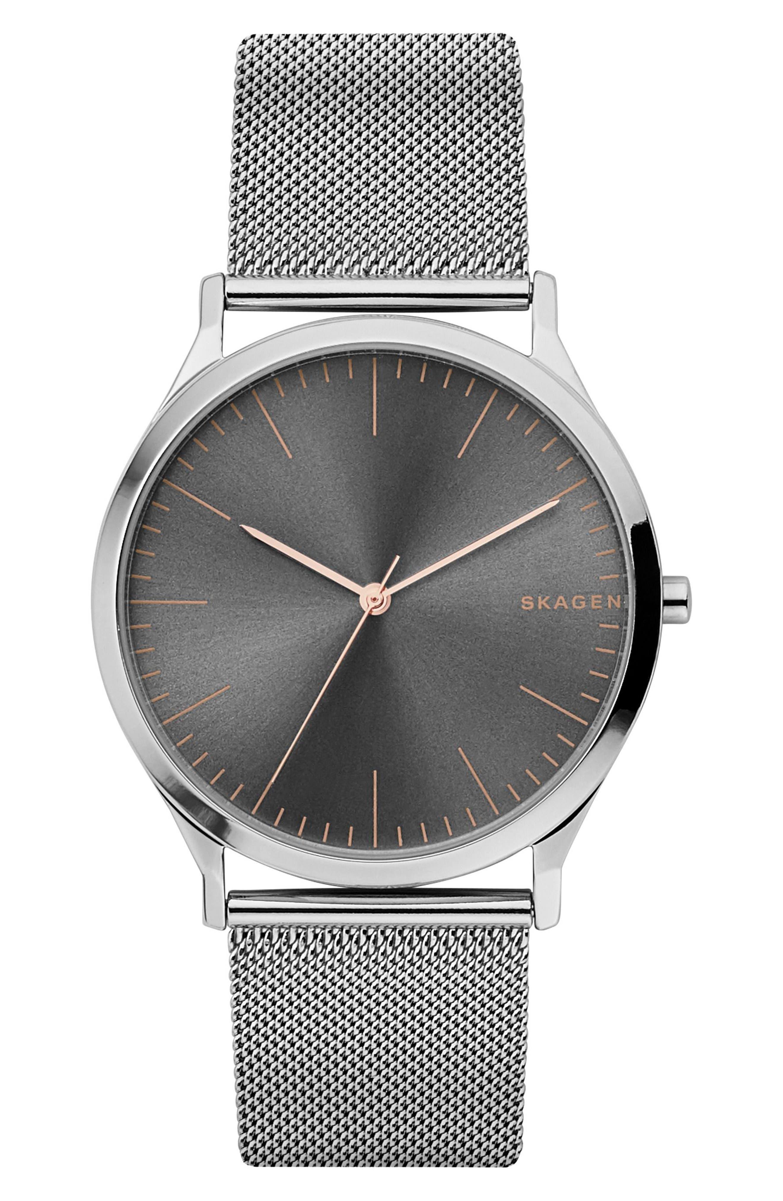Jorn Mesh Strap Watch, 41mm,                         Main,                         color, Silver/ Grey/ Silver