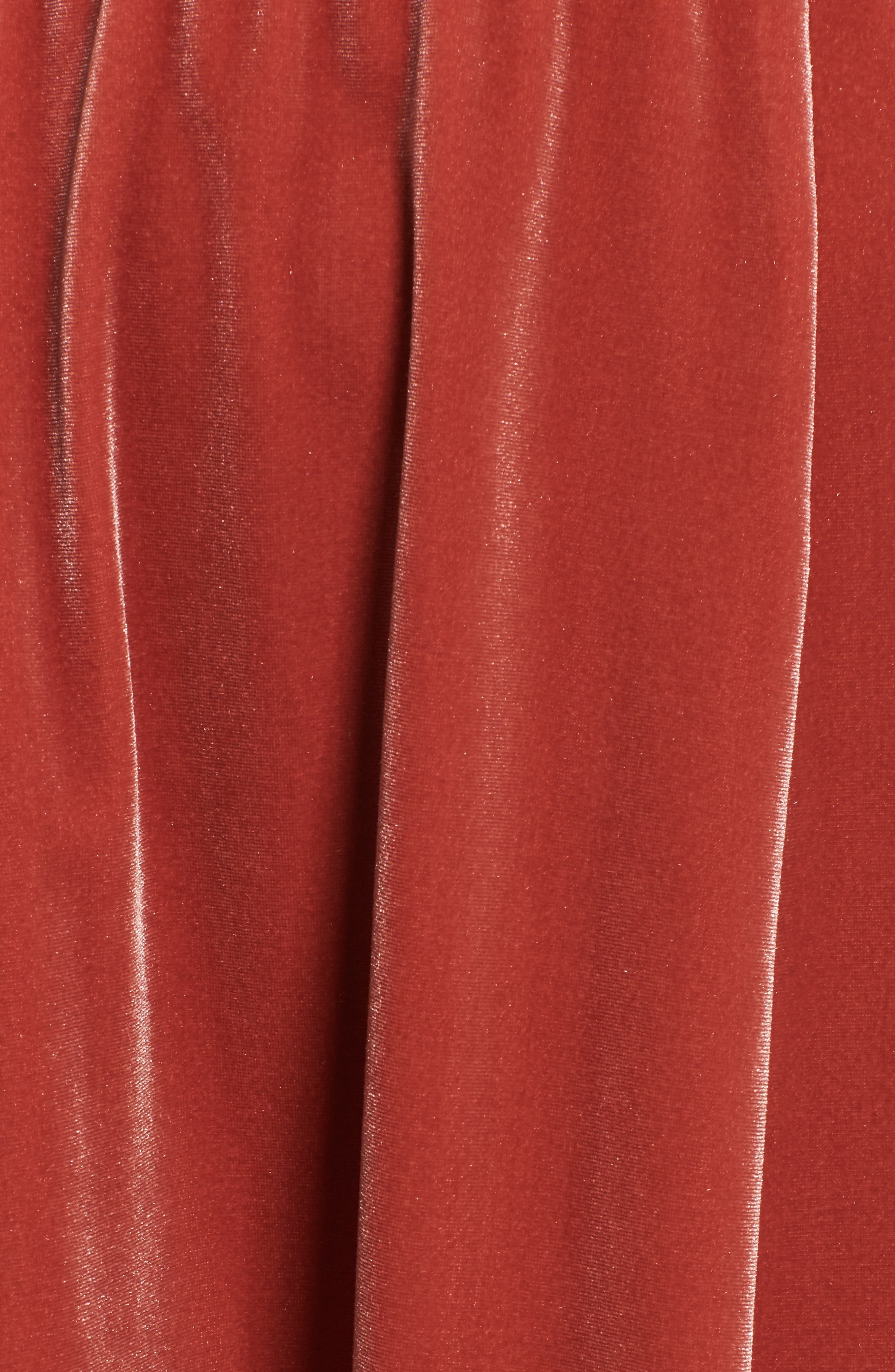 Velvet Midi Dress,                             Alternate thumbnail 5, color,                             Rust Marsala