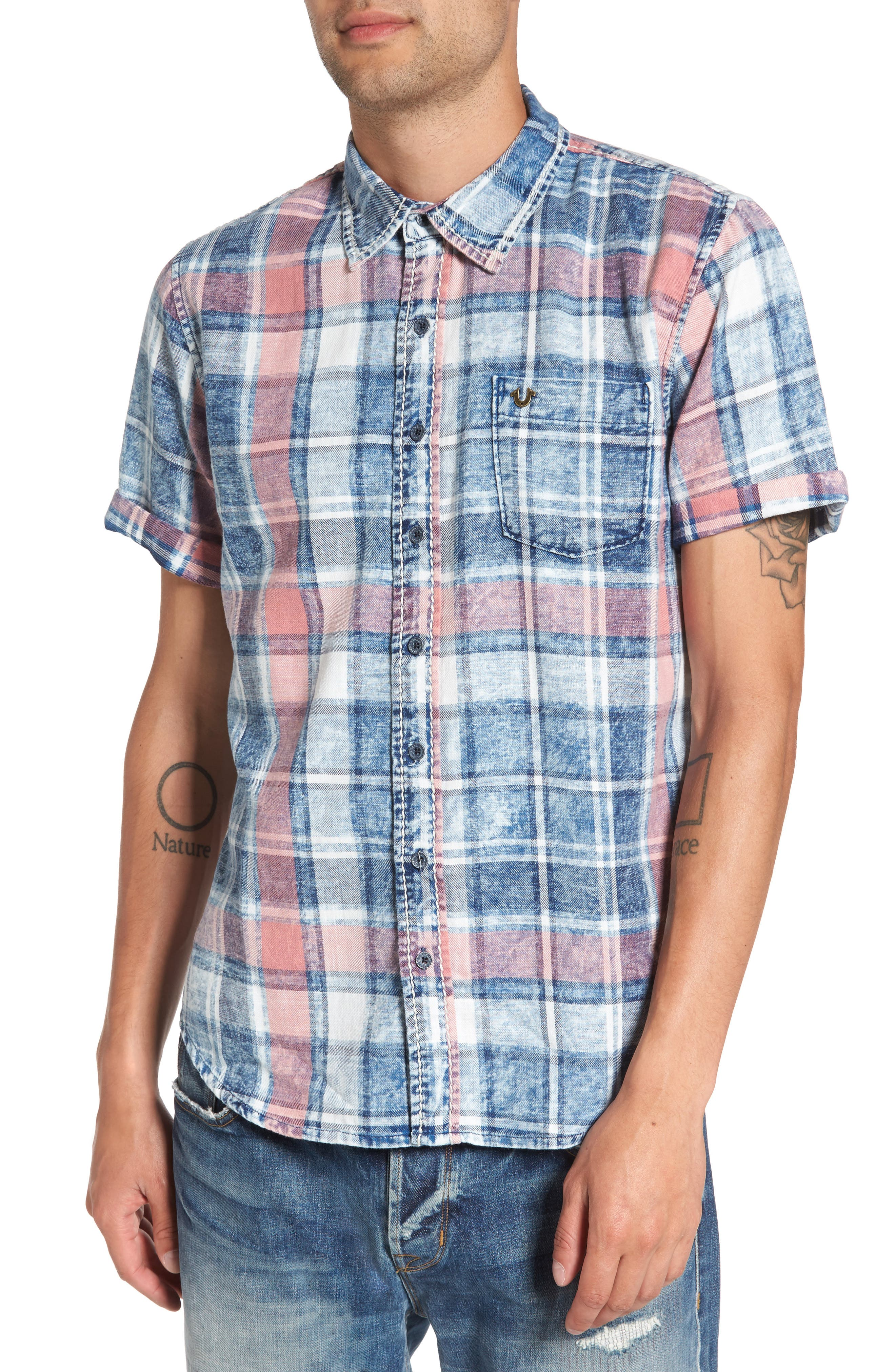 True Religion Brand Jeans Roll Up Plaid Short