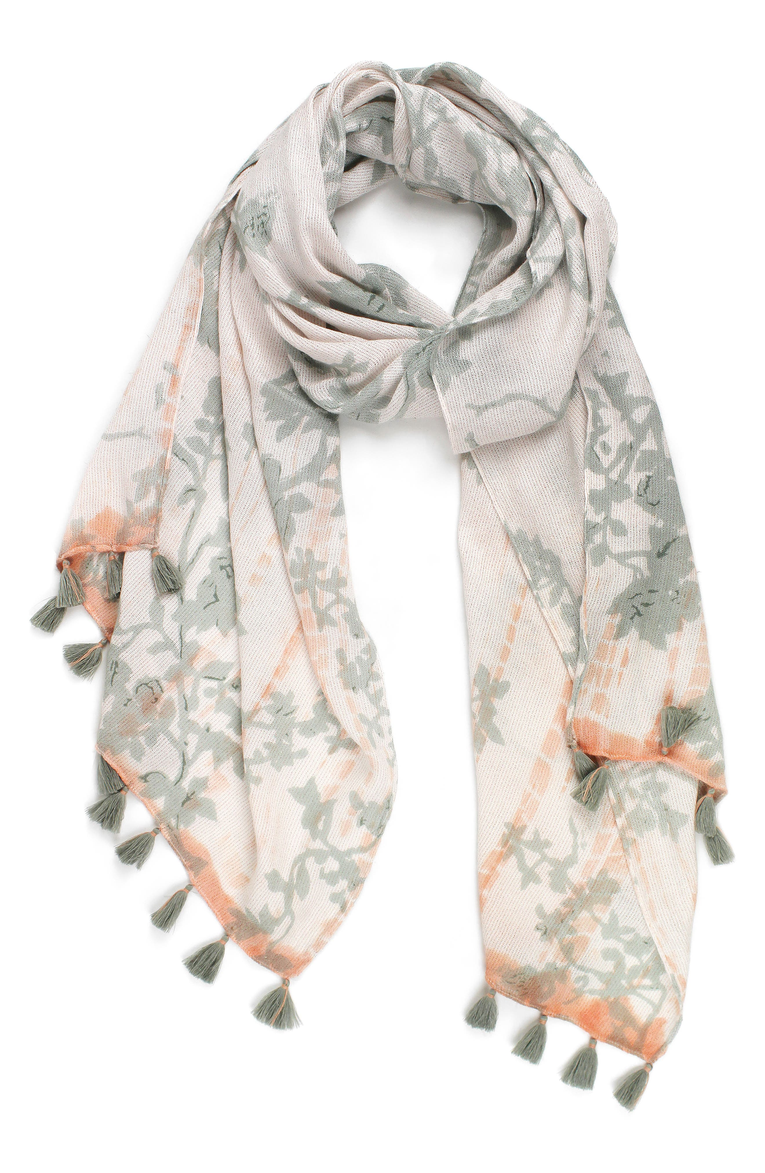 Tie Dye Garden Scarf,                             Main thumbnail 1, color,                             Oyster Grey/ White