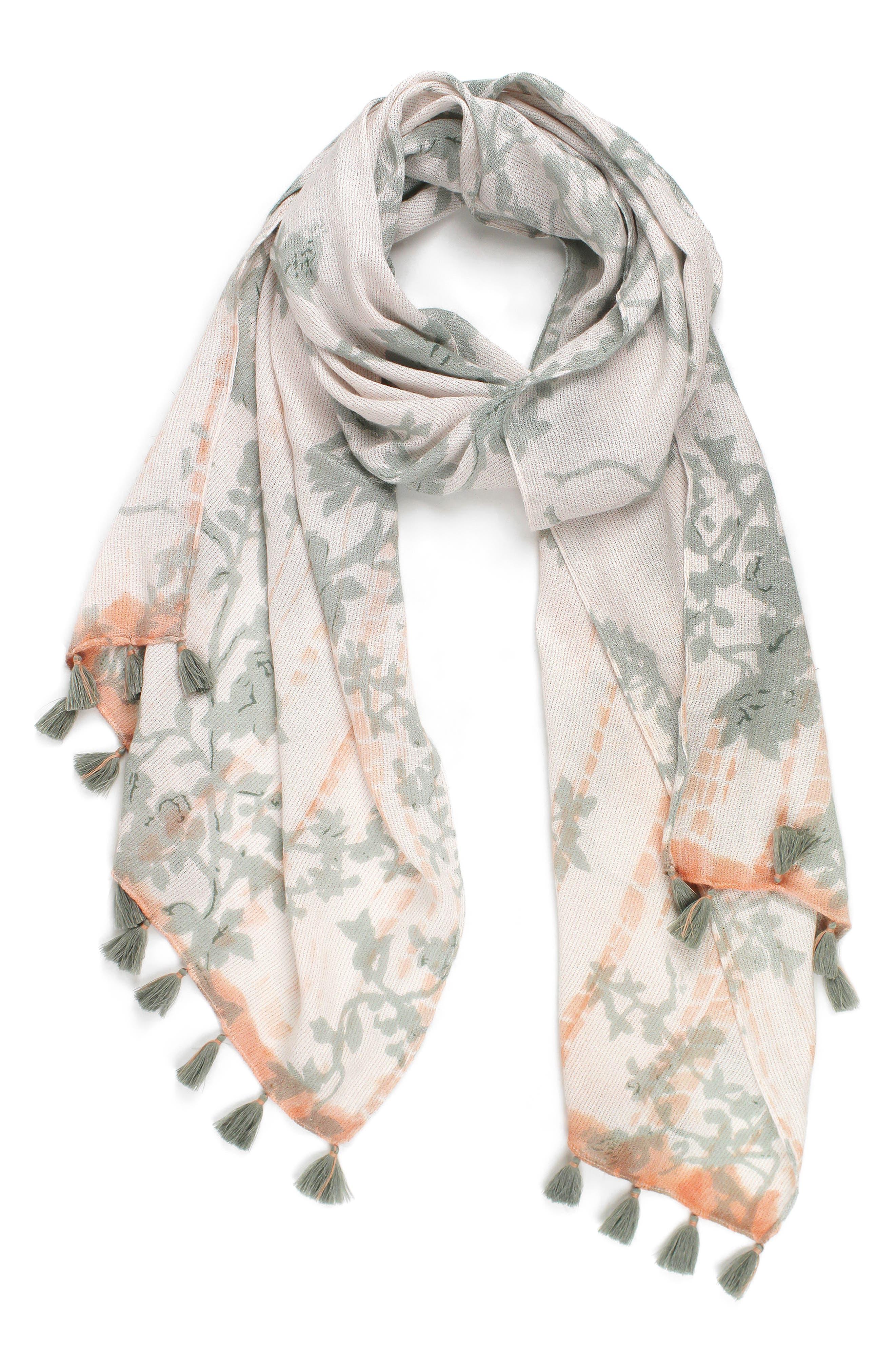 Tie Dye Garden Scarf,                         Main,                         color, Oyster Grey/ White
