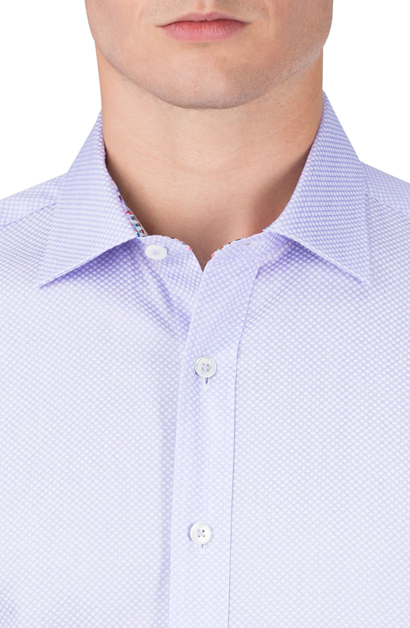 Alternate Image 3  - Bugatchi Classic Fit Diamond Print Sport Shirt