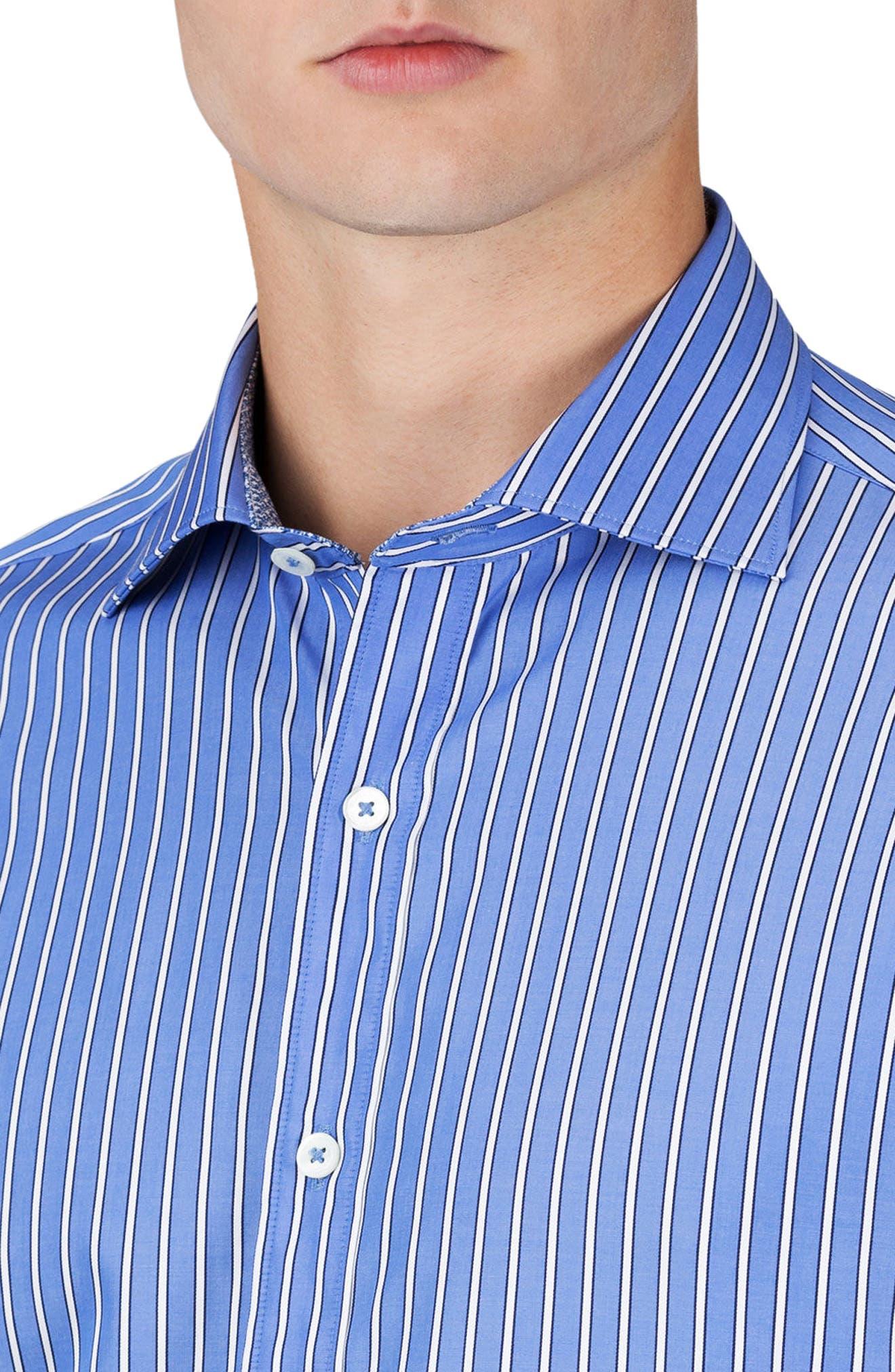 Classic Fit Stripe Sport Shirt,                             Alternate thumbnail 3, color,                             Classic Blue