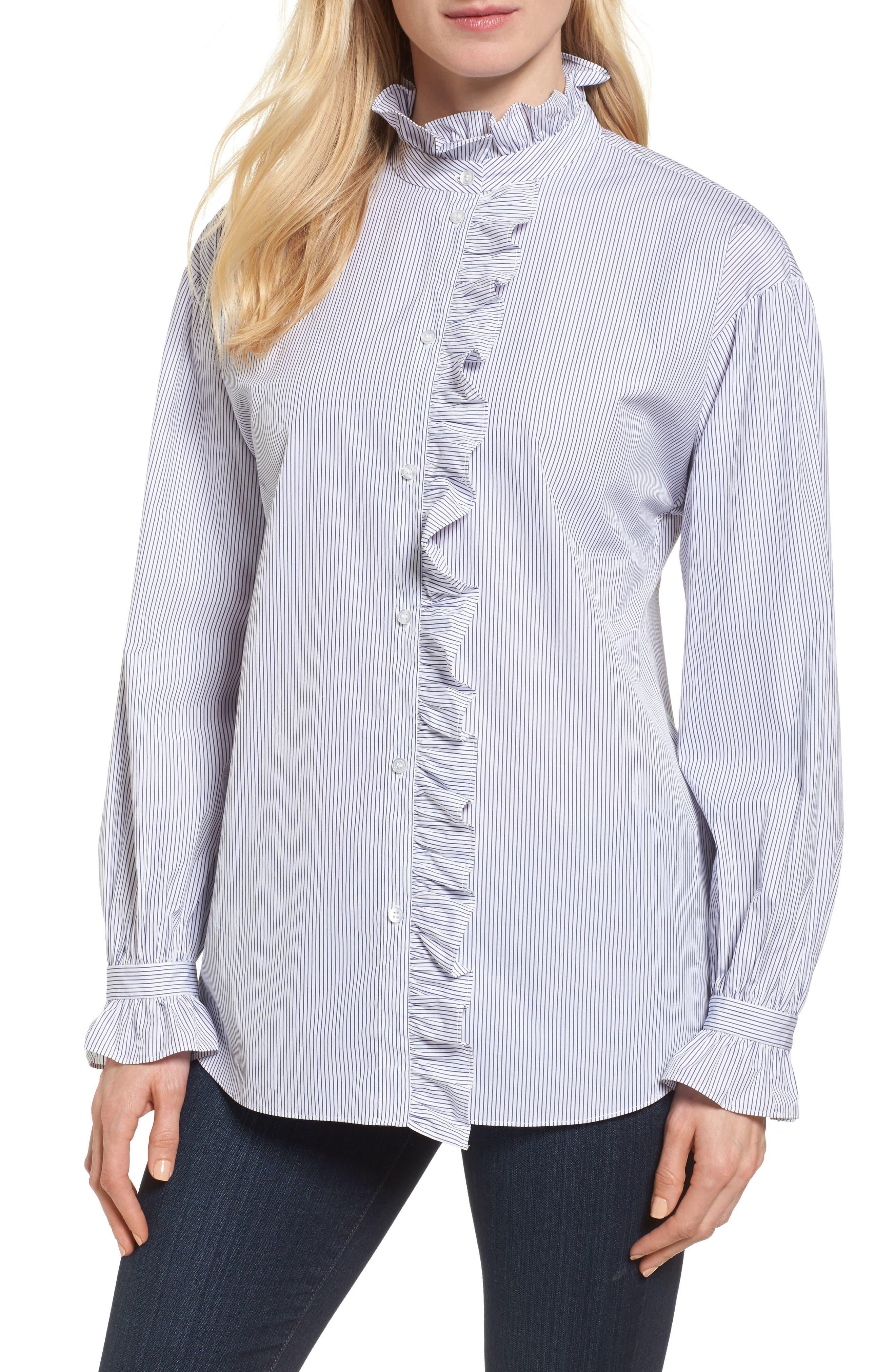 Ruffle Stripe Shirt,                         Main,                         color, White- Navy Thin Stripe