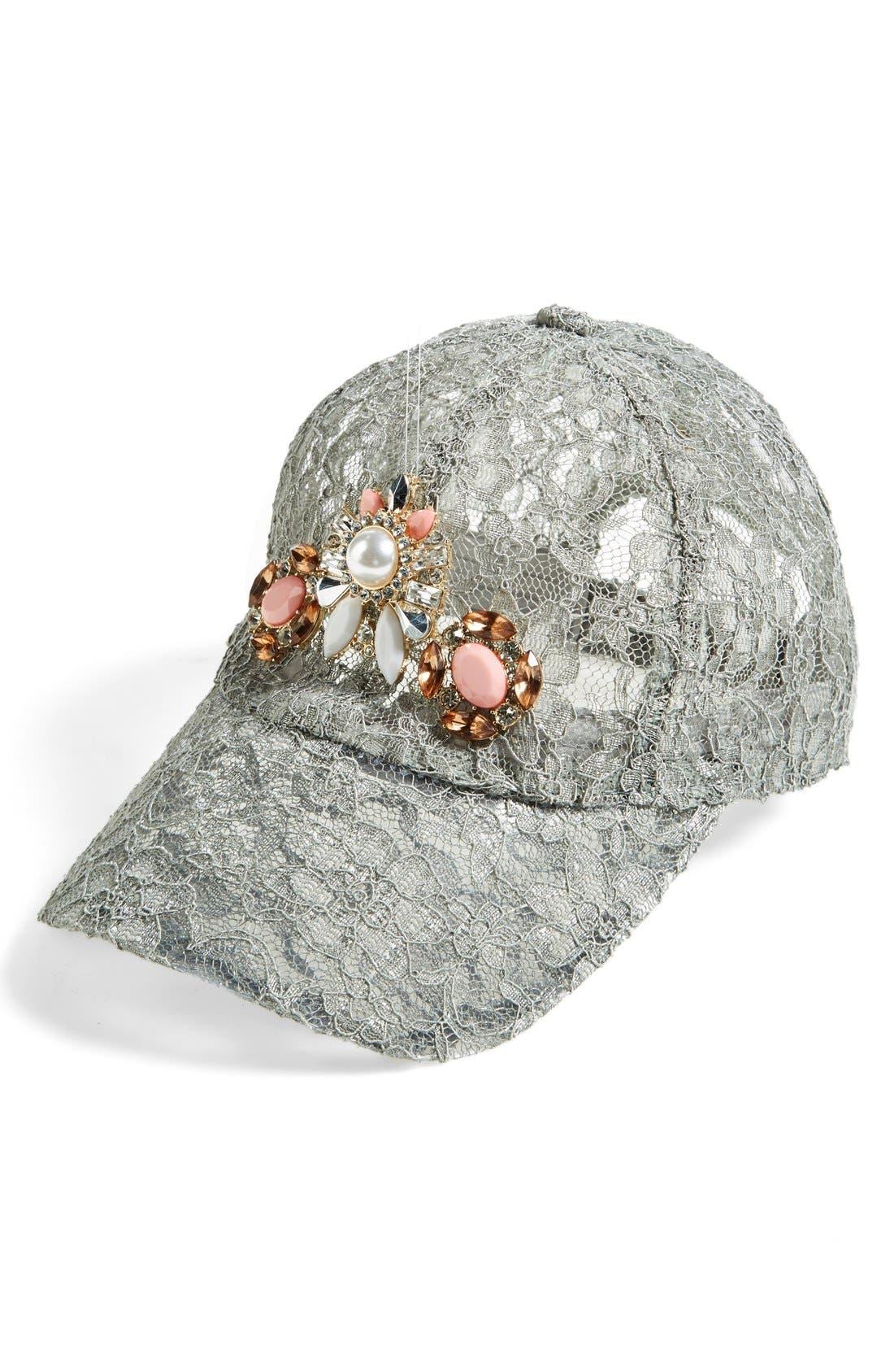 Embellished Lace Baseball Cap,                             Main thumbnail 1, color,                             Grey