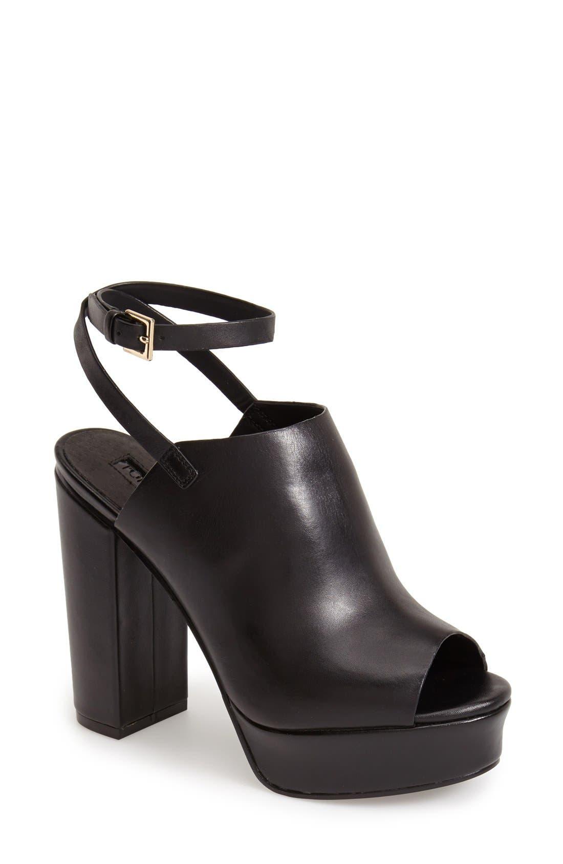 Main Image - Topshop 'Sagittarius' Leather Ankle Strap Open Toe Platform Sandal (Women)