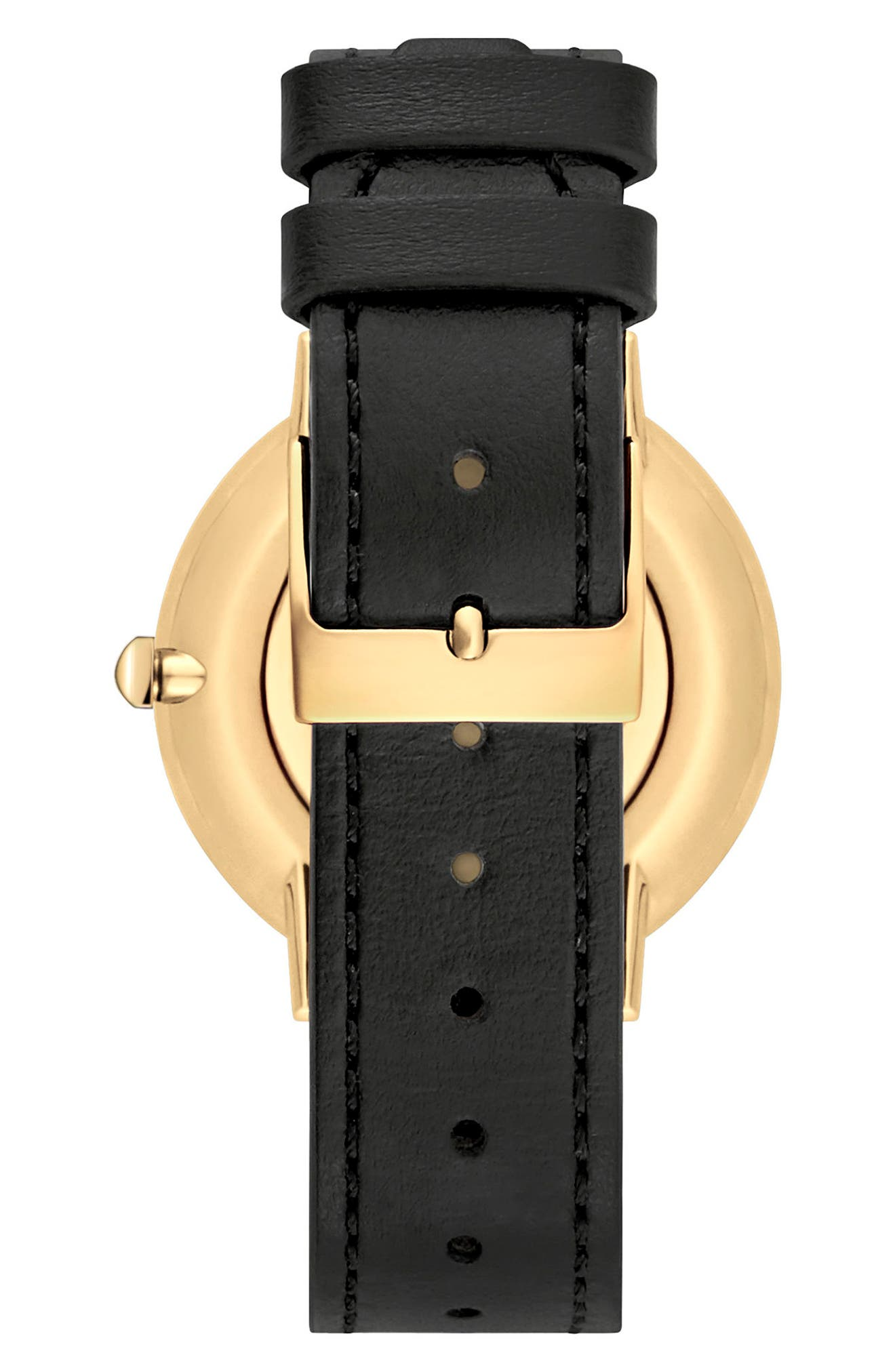 Major Stud Leather Strap Watch, 35mm,                             Alternate thumbnail 2, color,                             Black/ Gold
