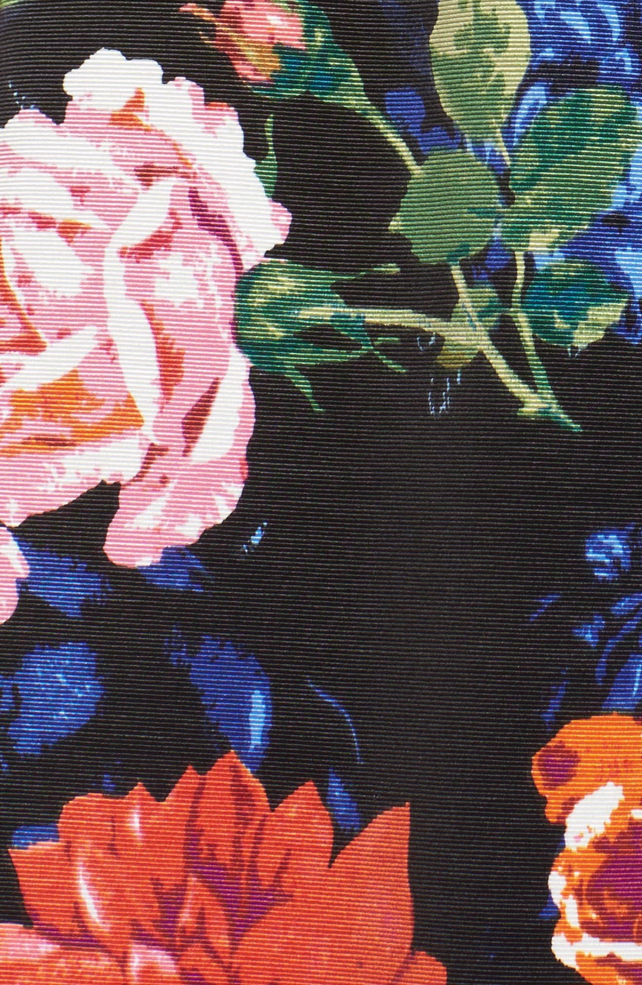 Floral Midi Skirt,                             Alternate thumbnail 5, color,                             Black/ Pink
