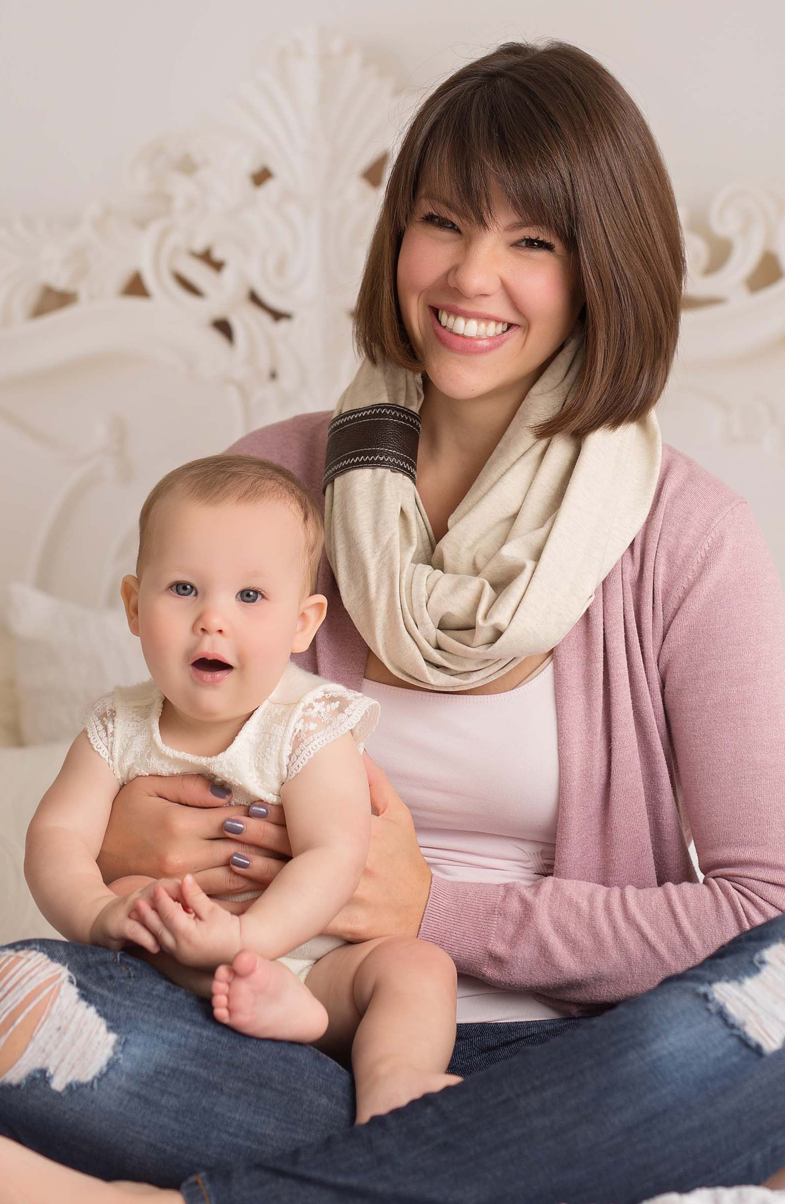 Infinity Nursing Scarf with Leather Cuff,                             Alternate thumbnail 5, color,                             Oatmeal