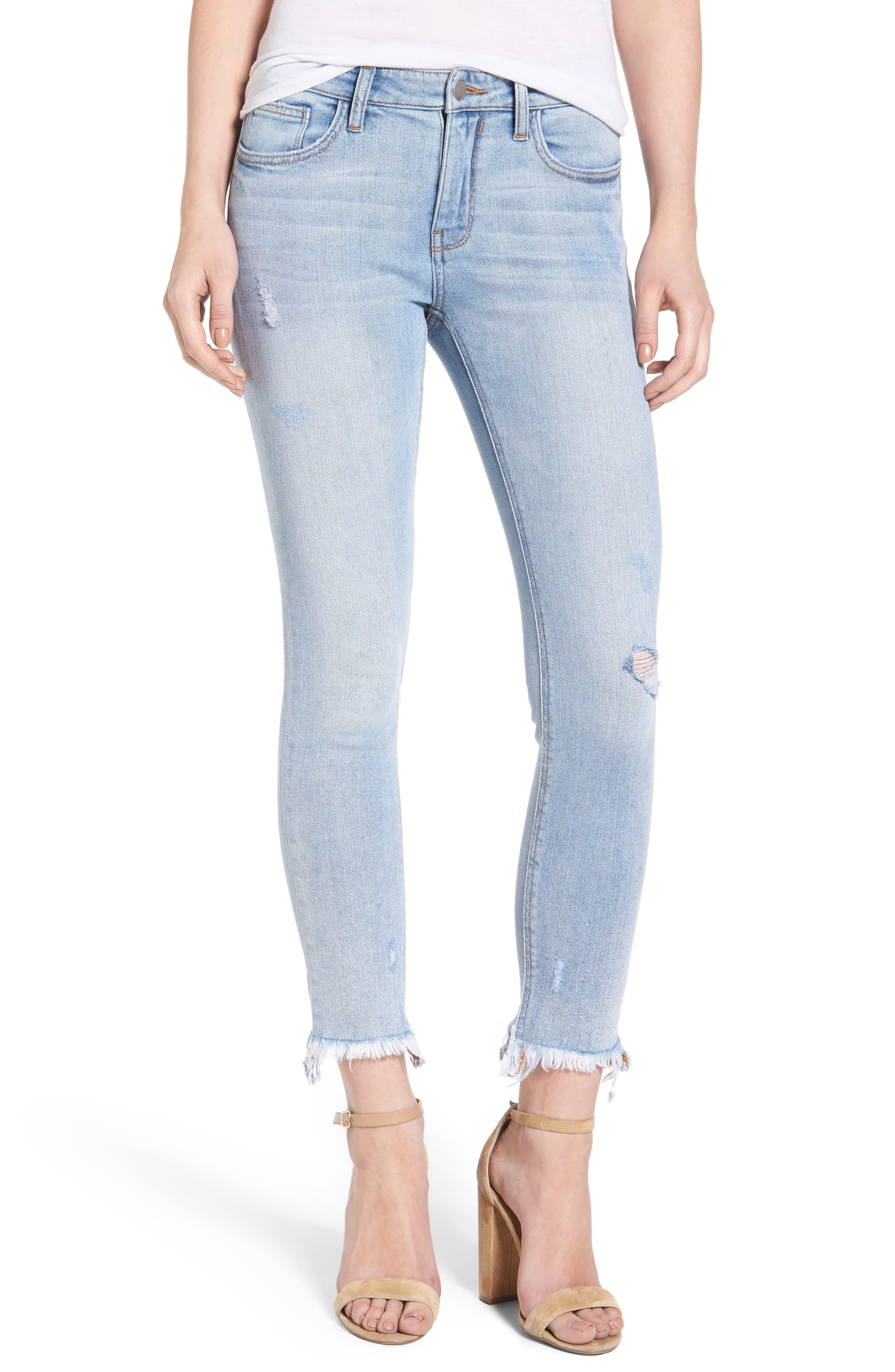 Frayed Hem Ankle Skinny Jeans,                             Main thumbnail 1, color,                             Denim Blue