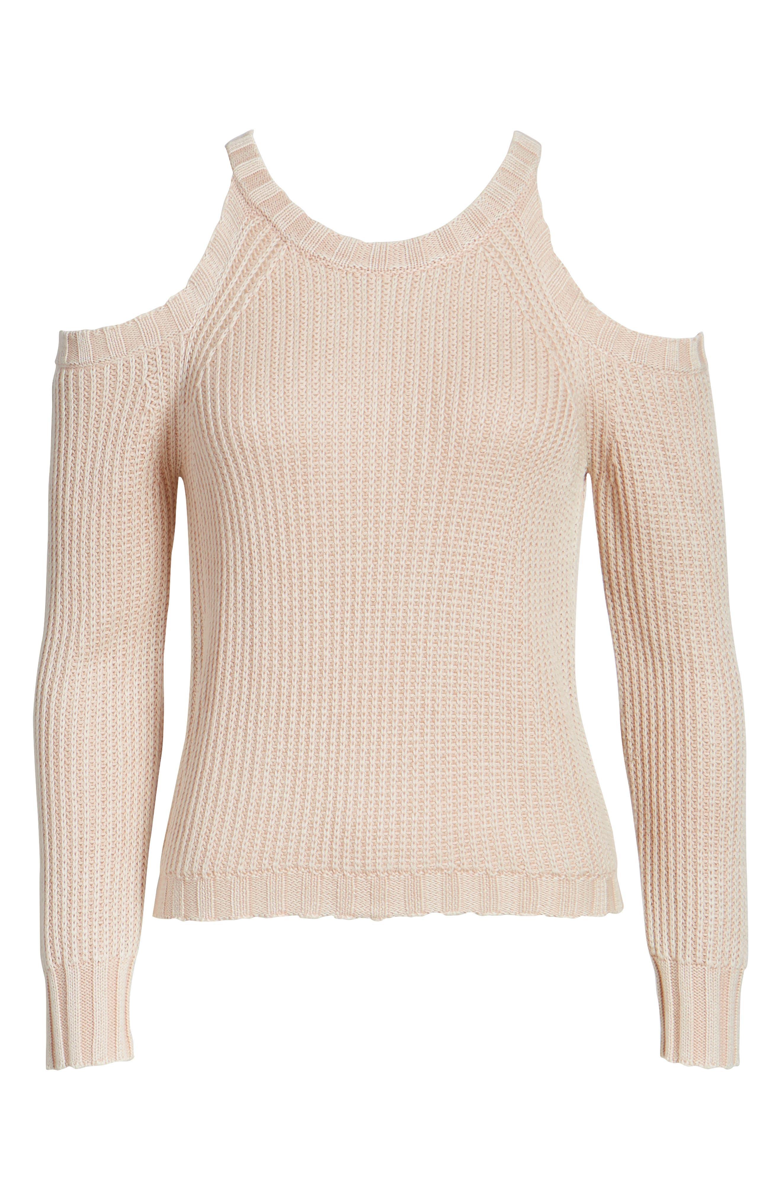 Mika Cold Shoulder Sweater,                             Alternate thumbnail 6, color,                             Blush