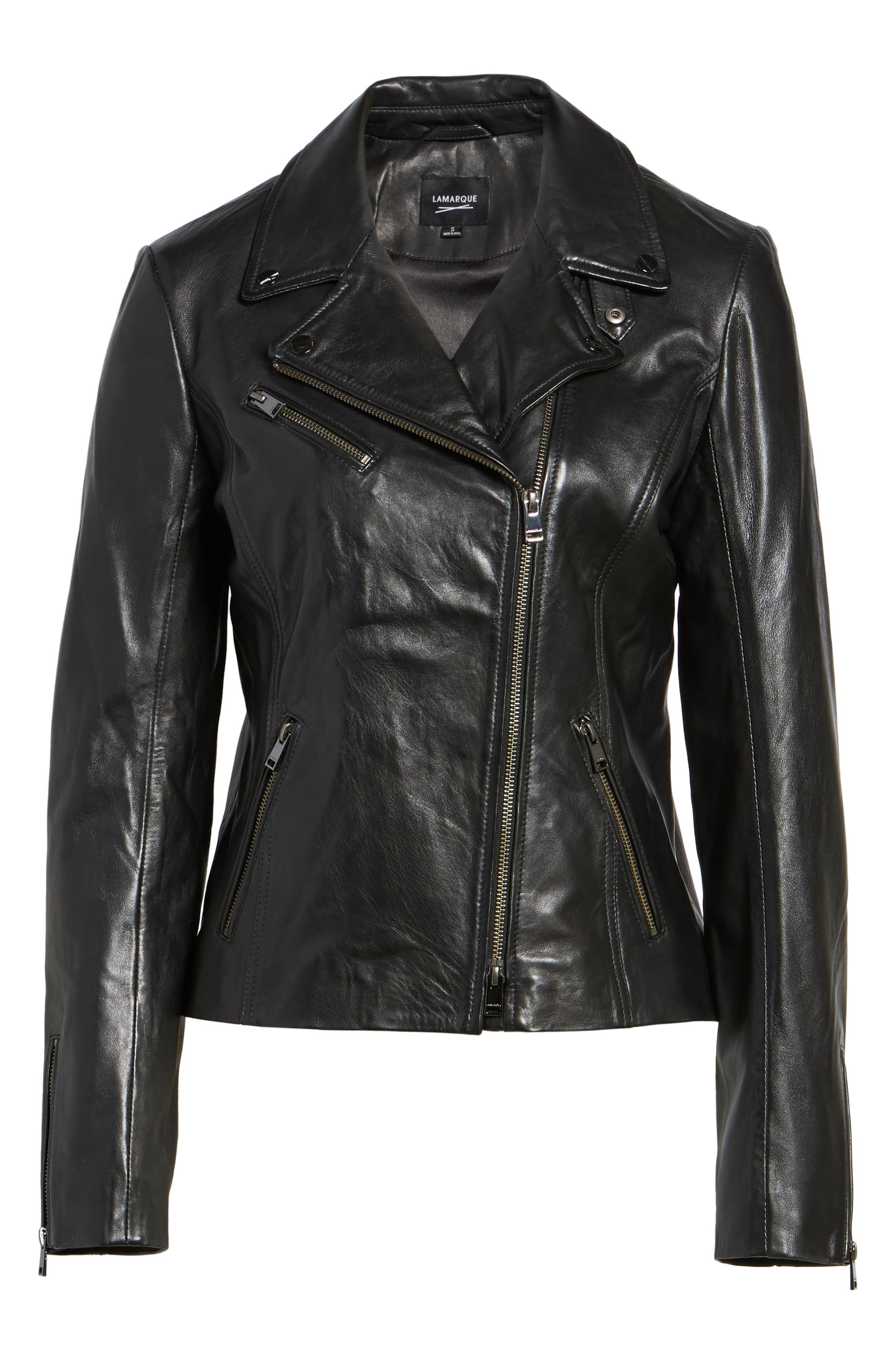 Asymmetrical Zip Leather Biker Jacket,                             Alternate thumbnail 4, color,                             Black