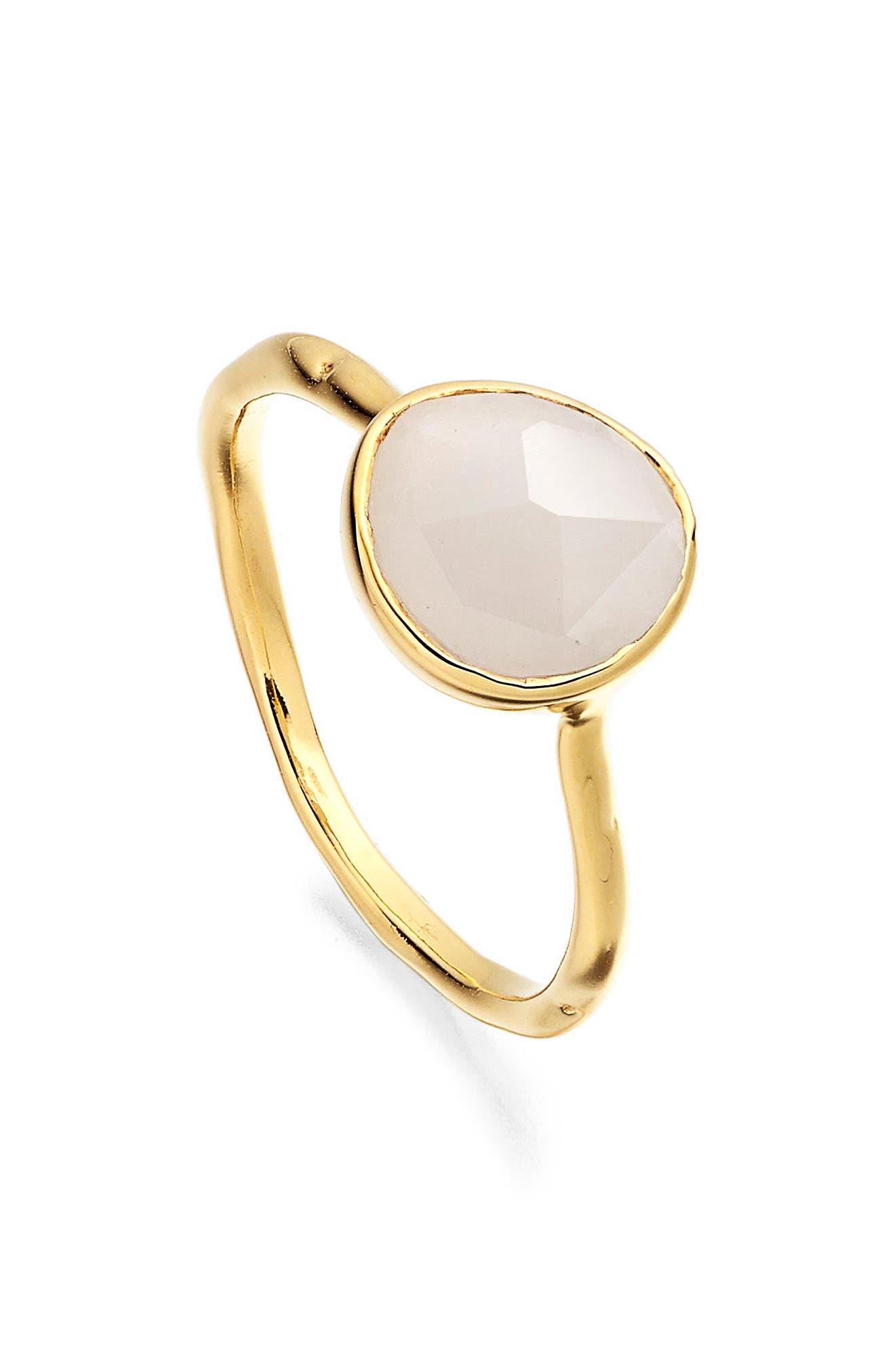 Siren Semiprecious Stone Stacking Ring,                             Main thumbnail 1, color,                             Gold/ Moonstone