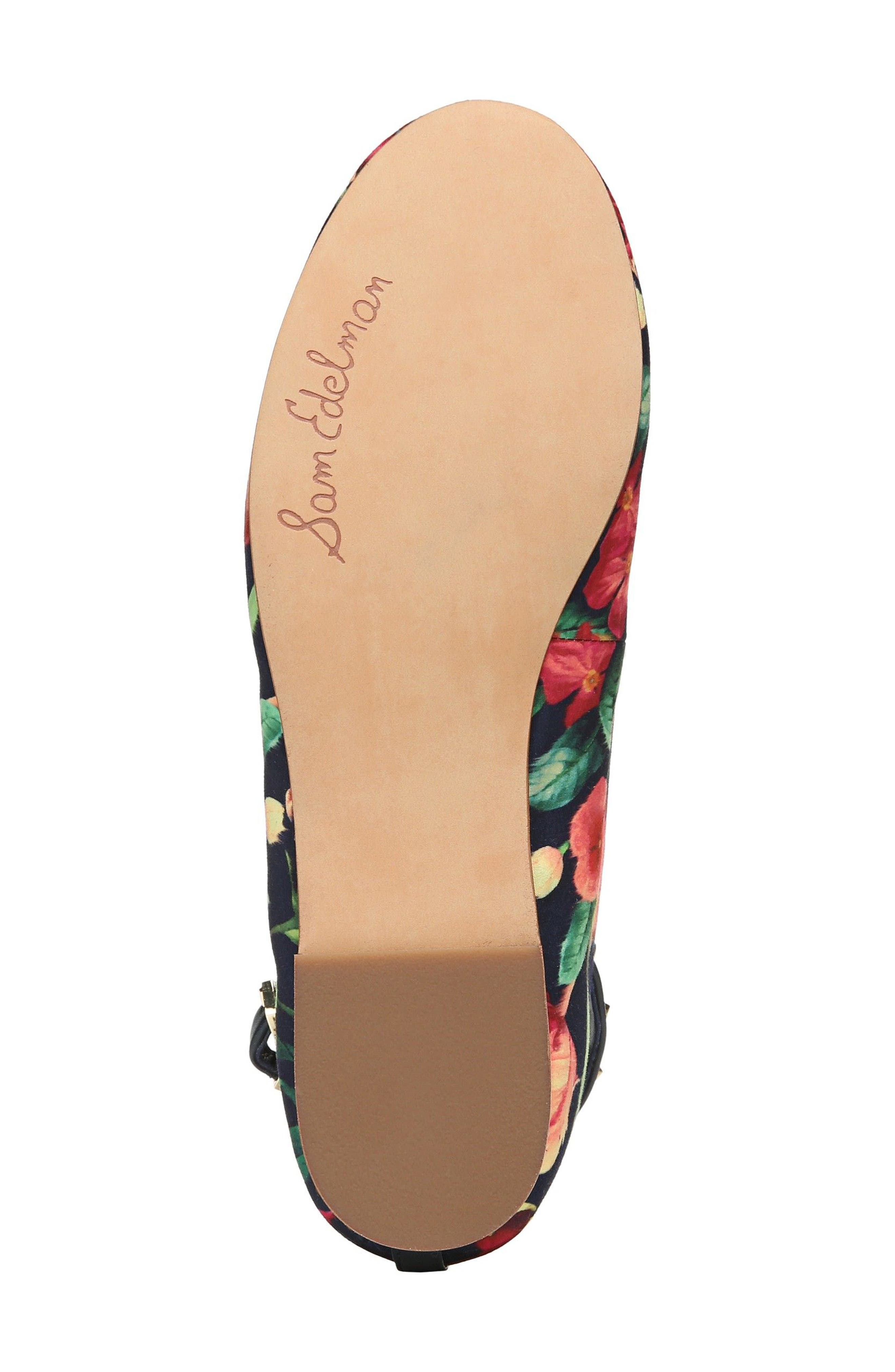 Ferrera Embellished Ankle Strap Flat,                             Alternate thumbnail 6, color,                             Navy Floral Fabric