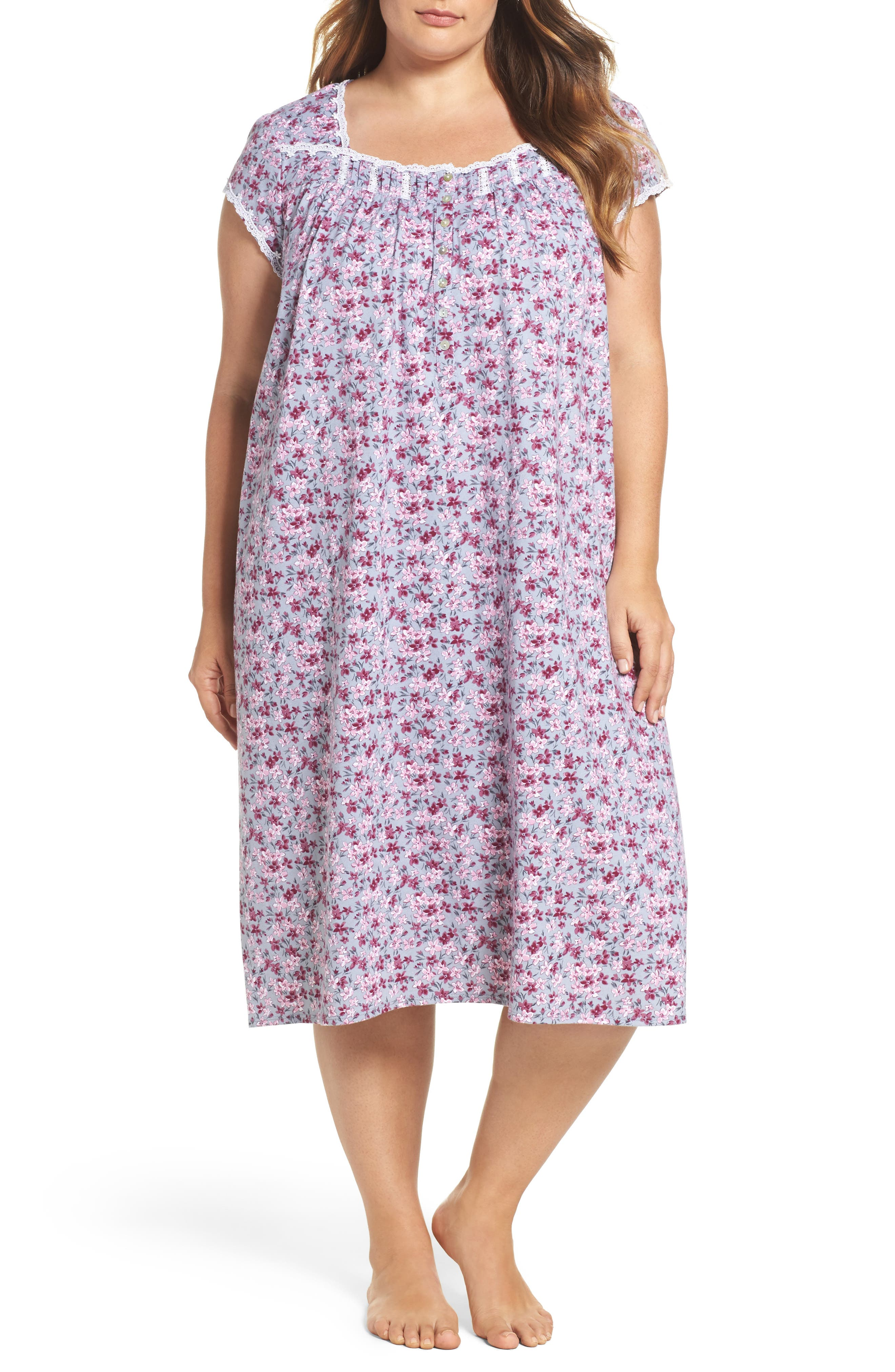 Floral Print Waltz Nightgown,                             Main thumbnail 1, color,                             Grey
