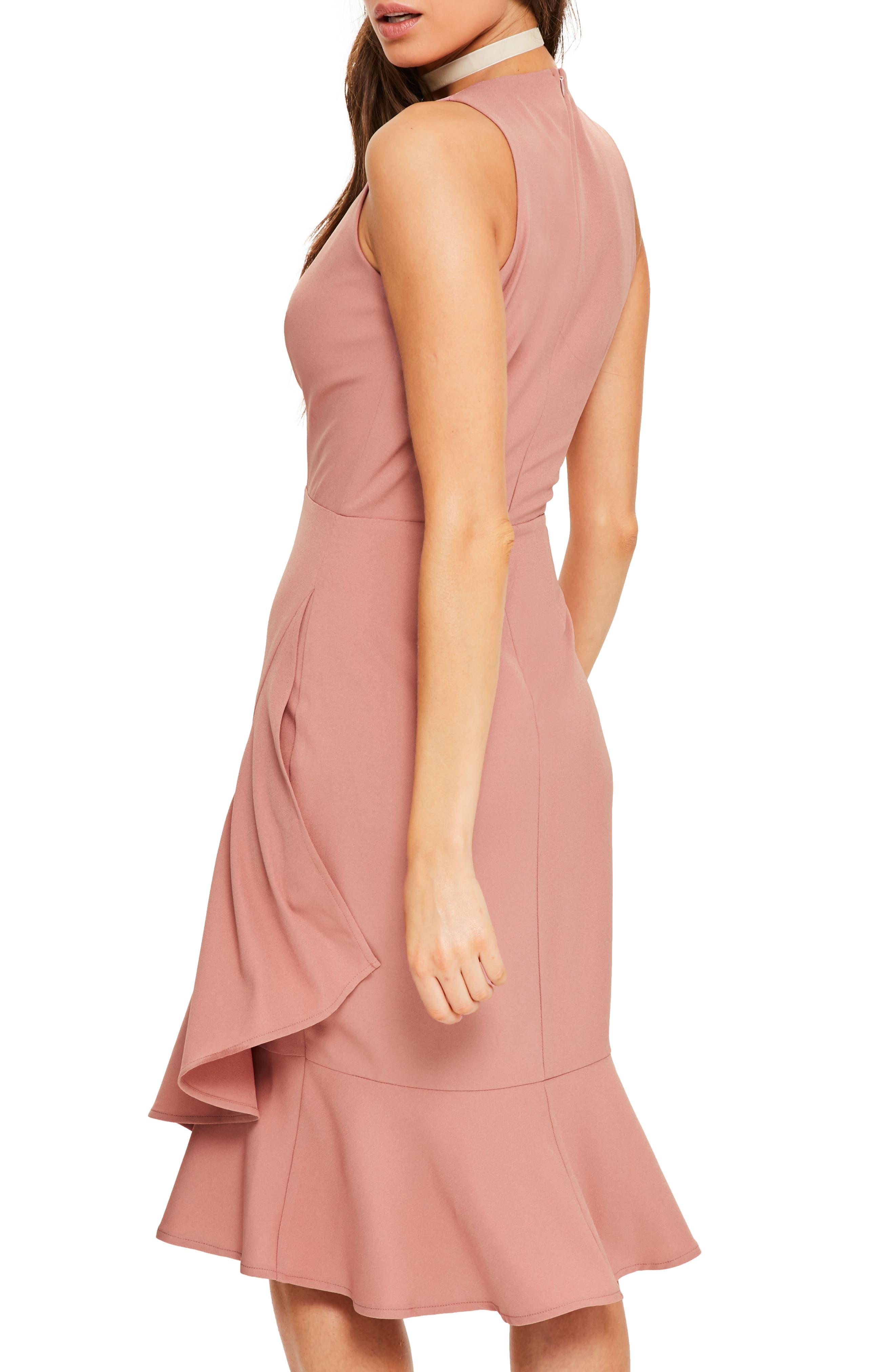 Plunge Ruffle Body-Con Dress,                             Alternate thumbnail 2, color,                             Rose