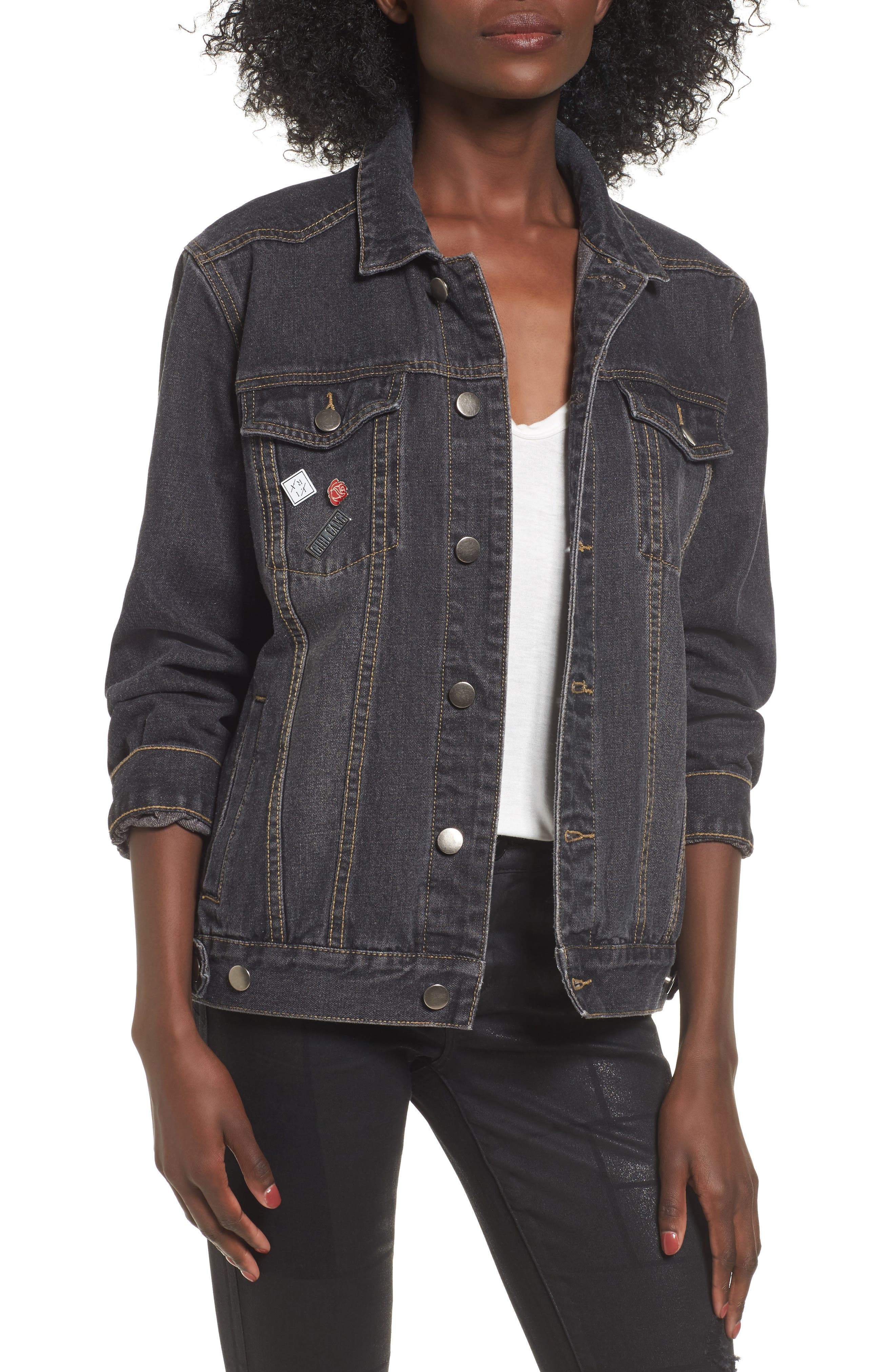 Girl Gang Denim Jacket,                         Main,                         color, Black