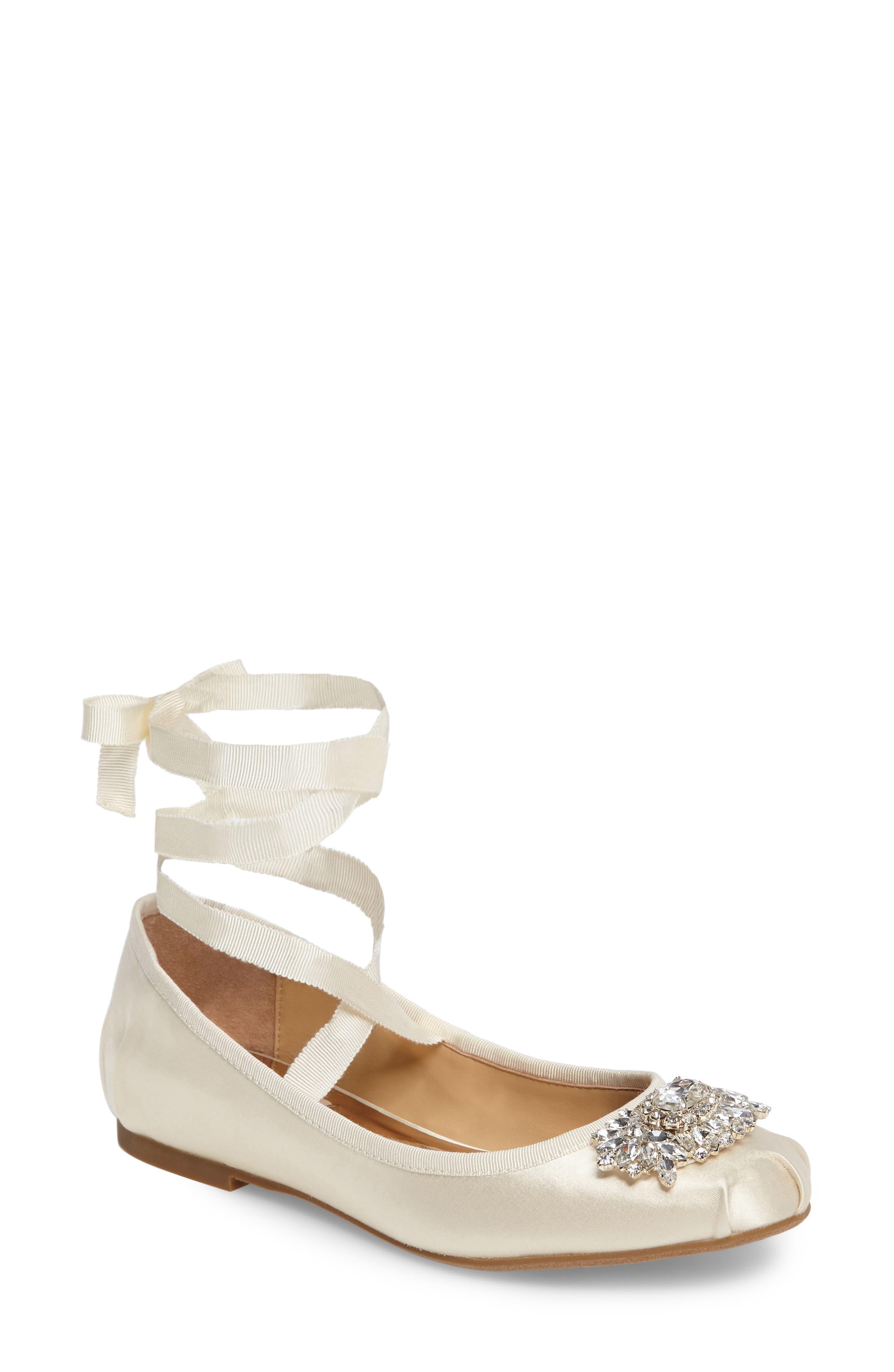 Badgley Mischka Karter Embellished Ankle Wrap Ballet Flat (Women)