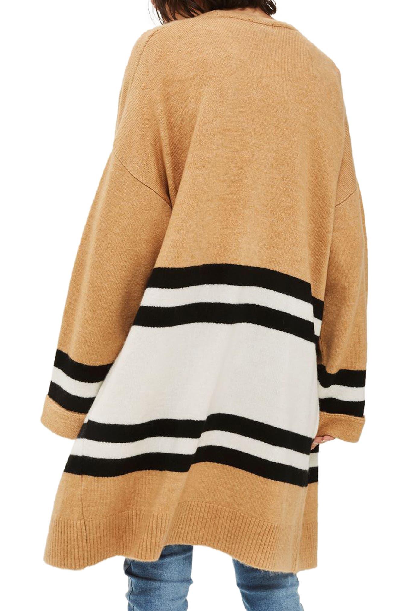 Stripe Colorblock Cardigan,                             Alternate thumbnail 3, color,                             Camel Multi