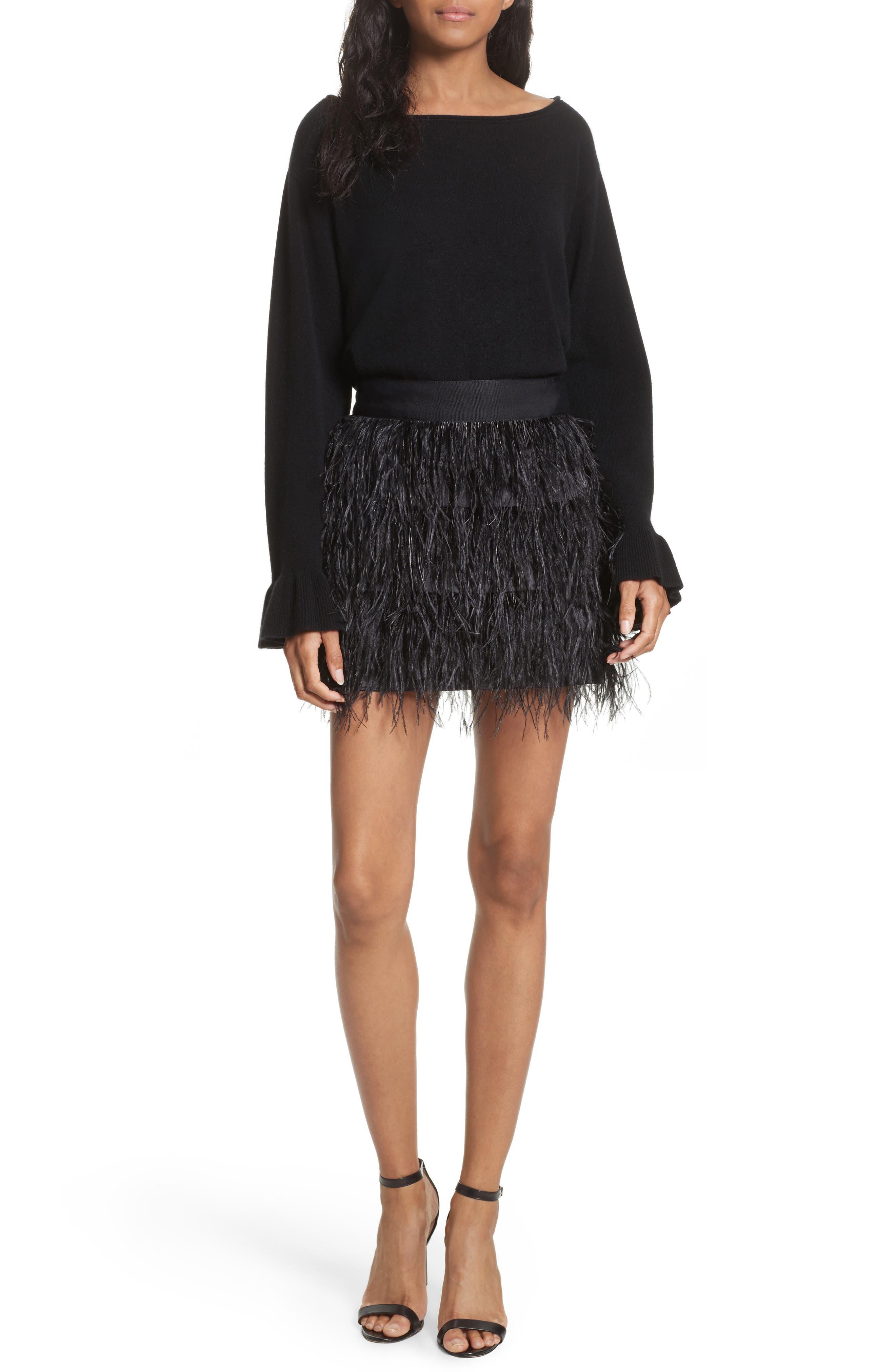 Feather Miniskirt,                             Alternate thumbnail 4, color,                             Black