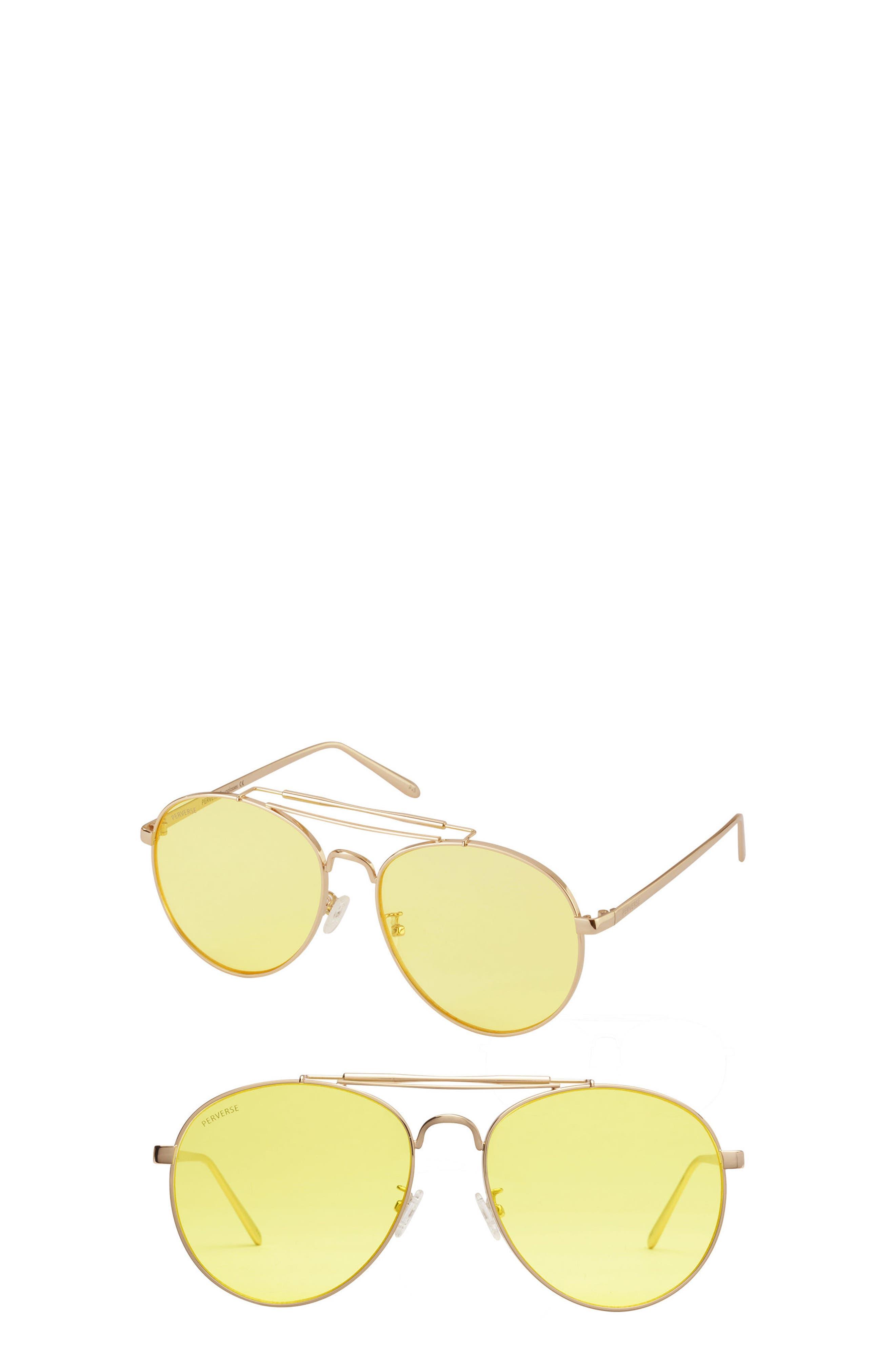 Crisp Aviator Sunglasses,                         Main,                         color, Yellow/ Gold