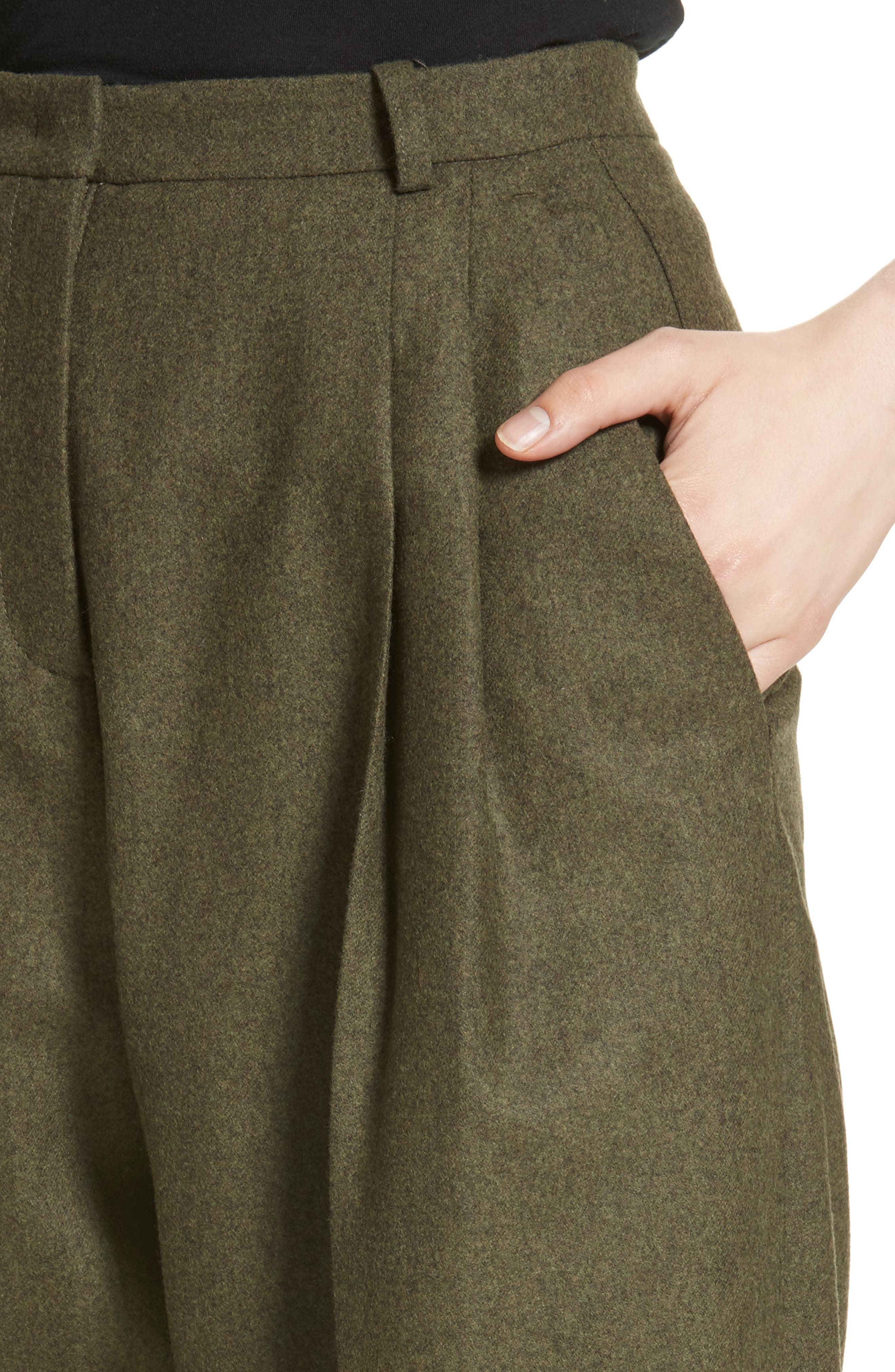 Wool & Cashmere Pleated Flannel Trousers,                             Alternate thumbnail 4, color,                             Olive Mlange