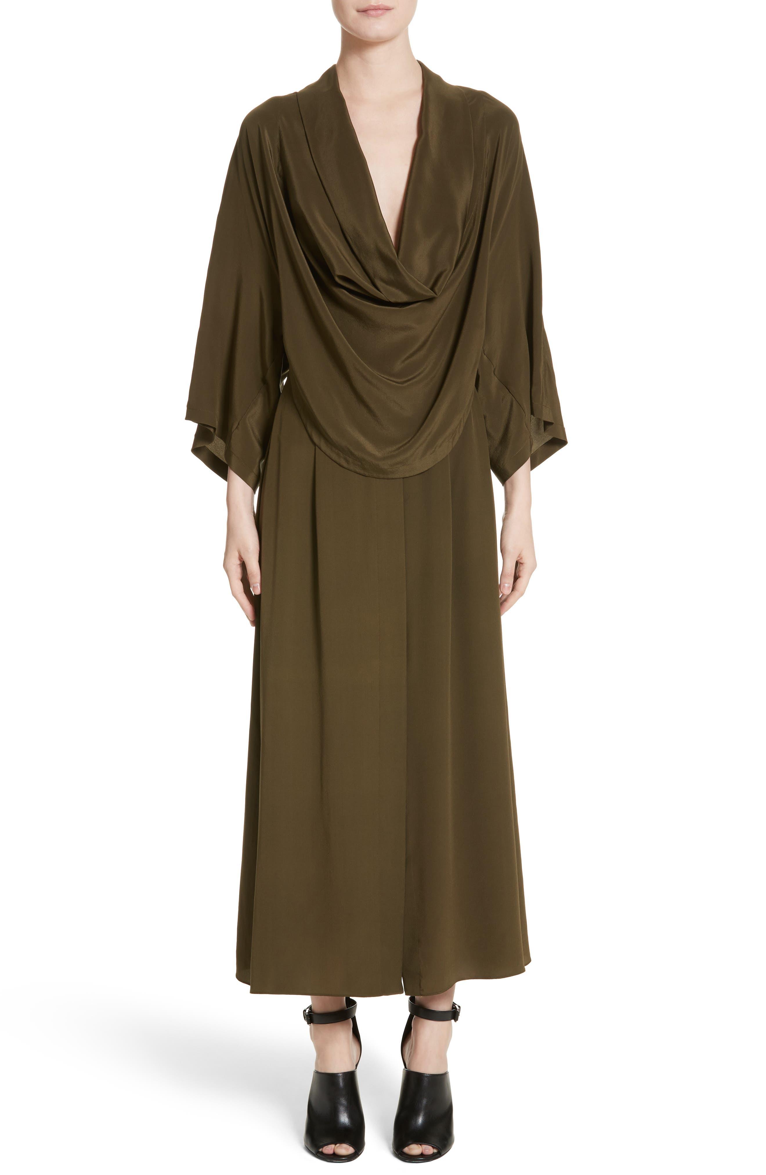 Silk Crêpe de Chine Cowl Neck Shirtdress,                         Main,                         color, Olive