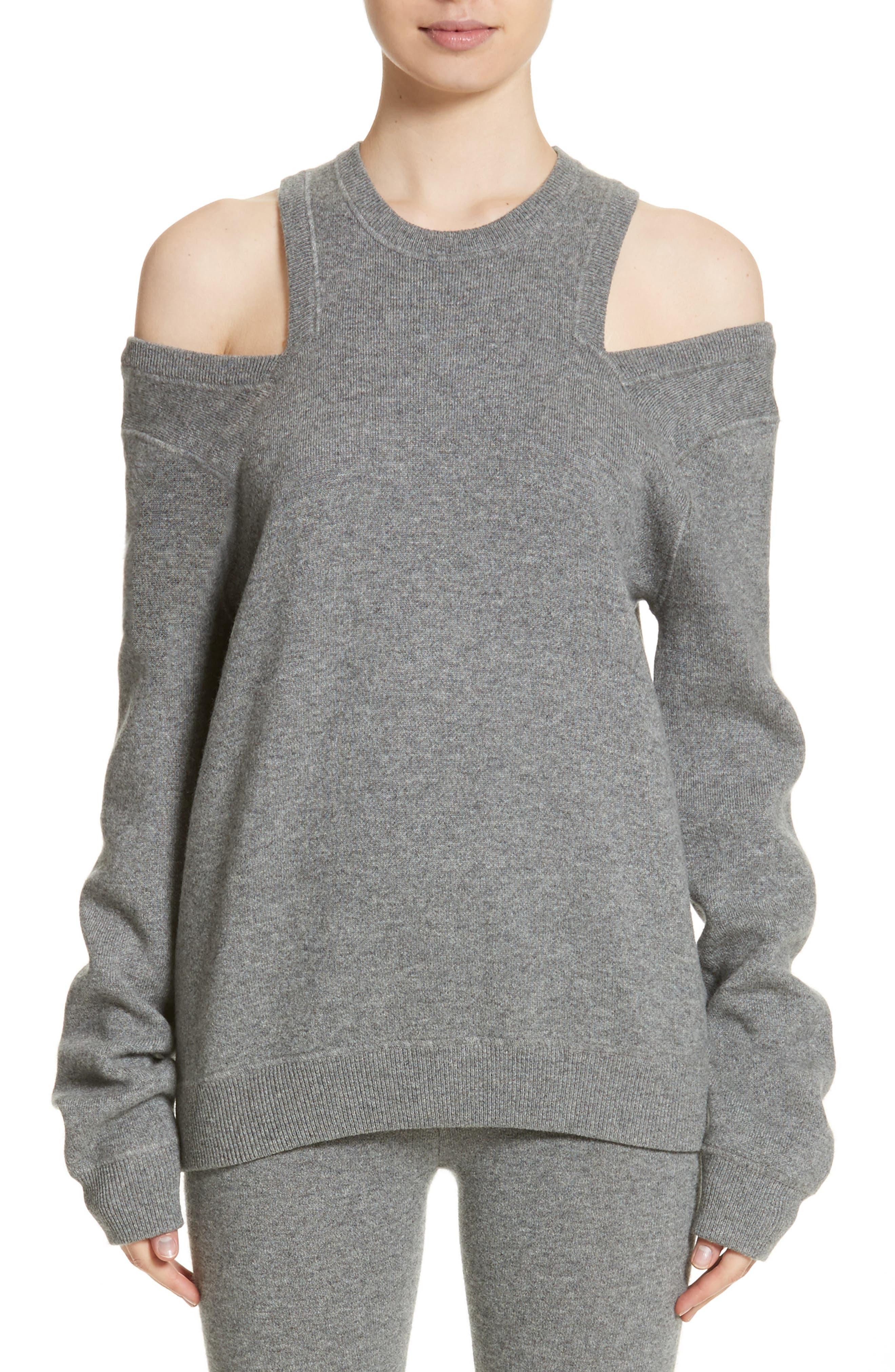 Cold Shoulder Sweater,                         Main,                         color, Banker Mlange