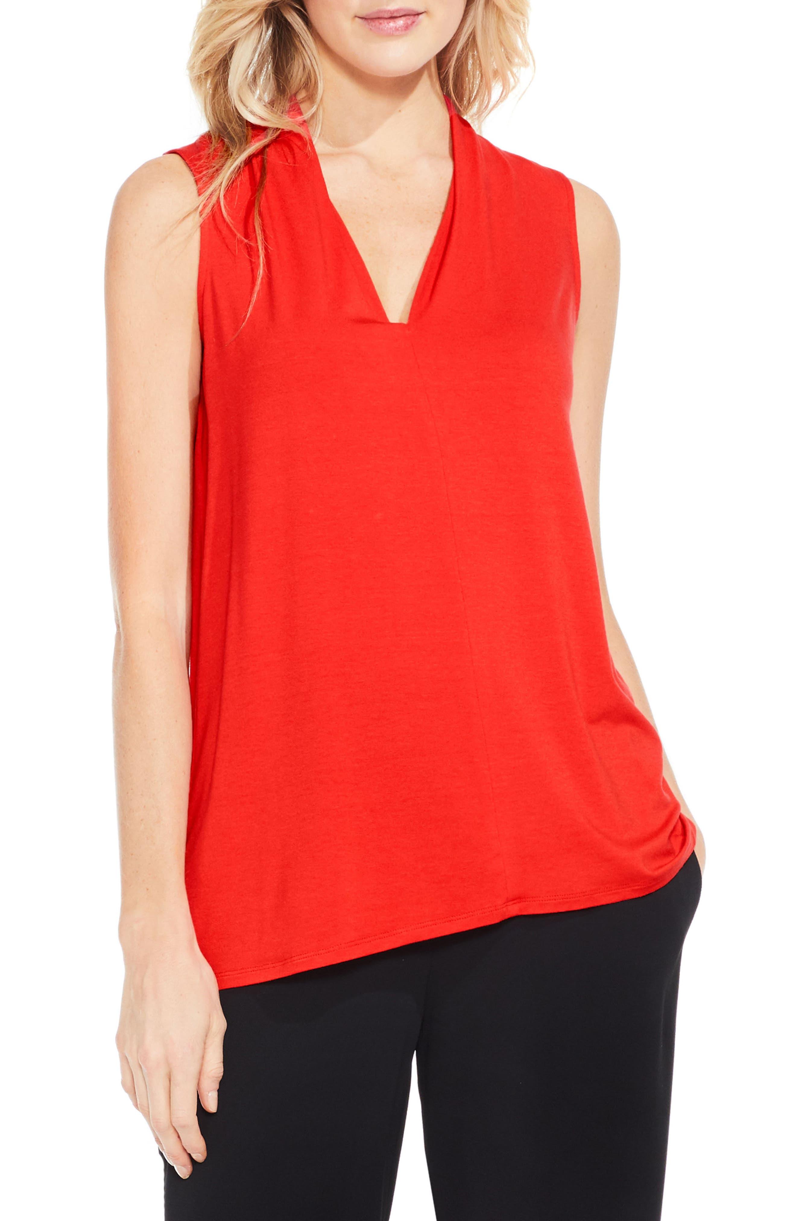 V-Neck Jersey Top,                         Main,                         color, Bright Crimson