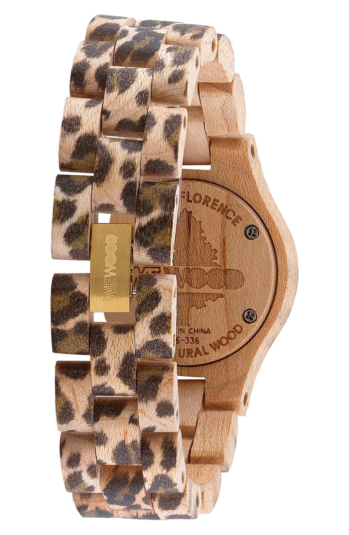 Criss Wood Bracelet Watch, 31mm,                             Alternate thumbnail 2, color,                             Cheetah Print/ Tan/ Gold