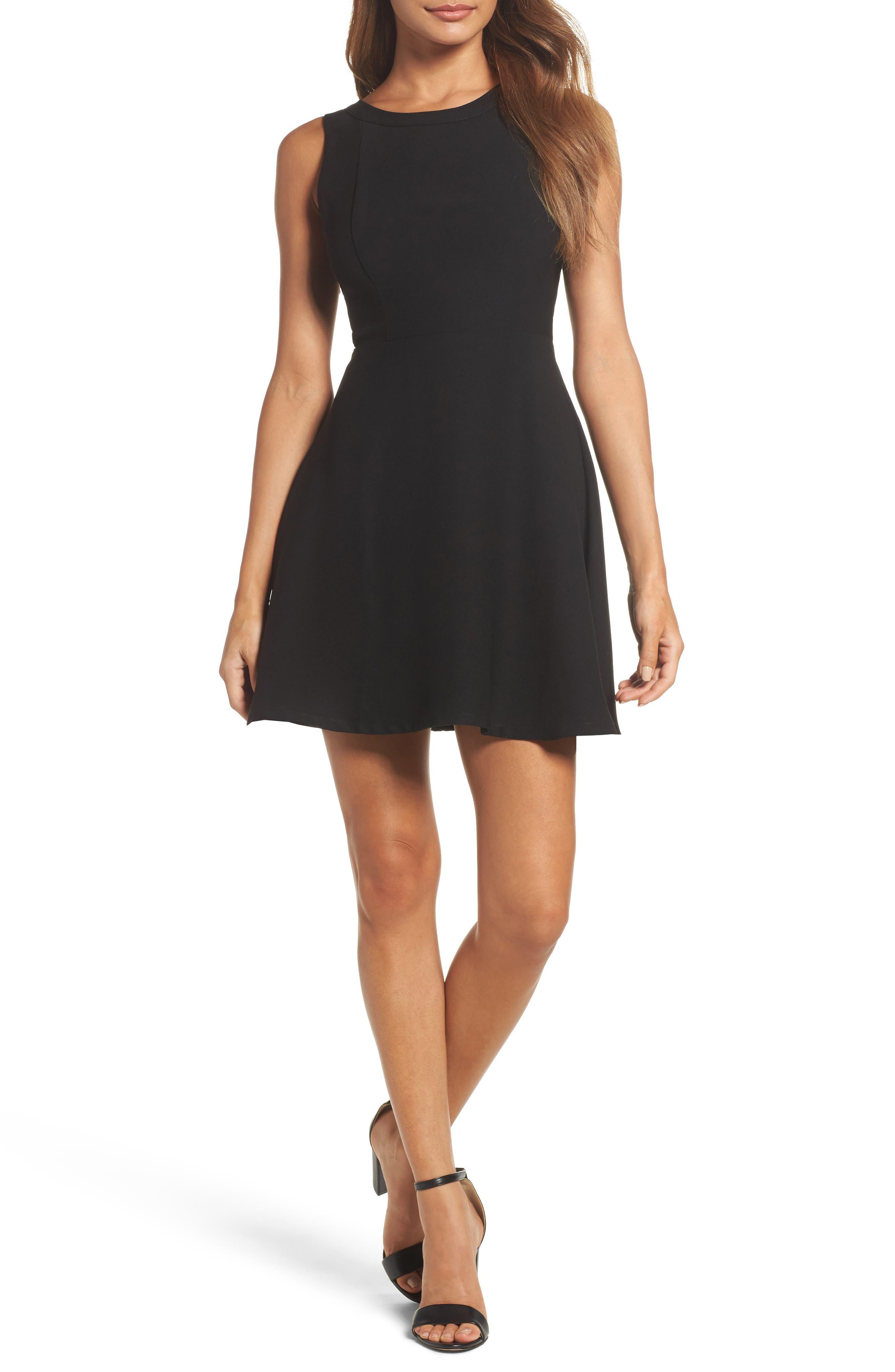 Crepe Fit & Flare Dress,                         Main,                         color, Black