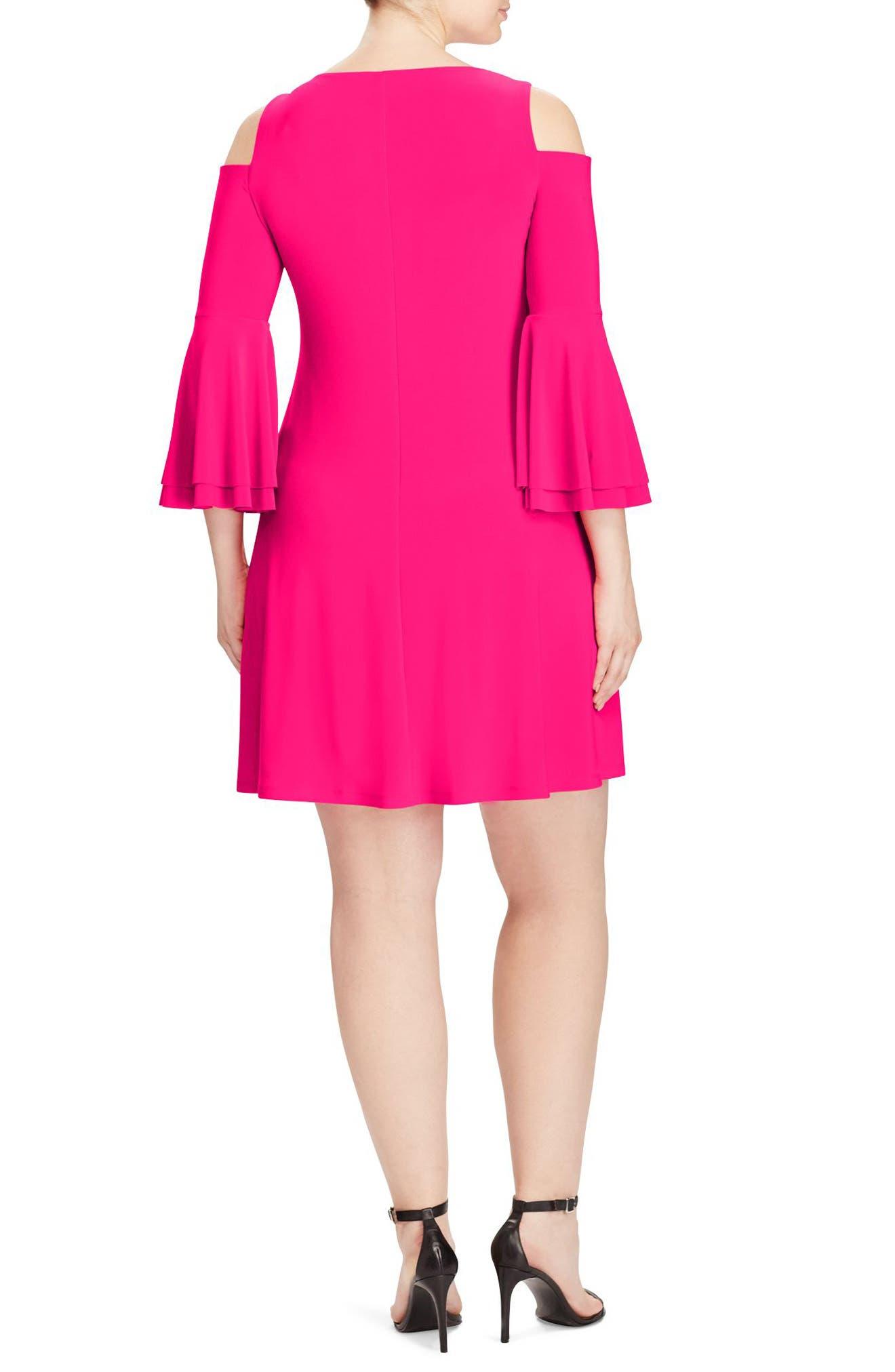 Cold Shoulder A-Line Dress,                             Alternate thumbnail 2, color,                             Caliente Pink