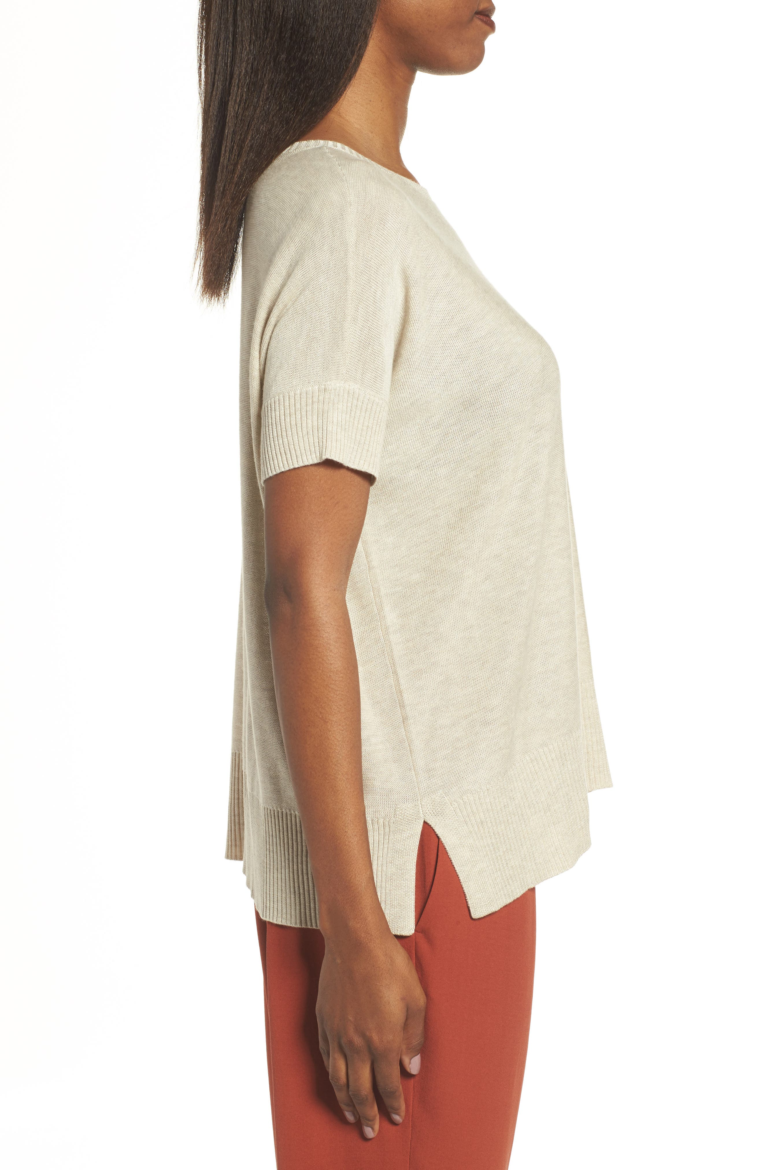 Tencel<sup>®</sup> & Merino Wool Top,                             Alternate thumbnail 3, color,                             Maple Oat