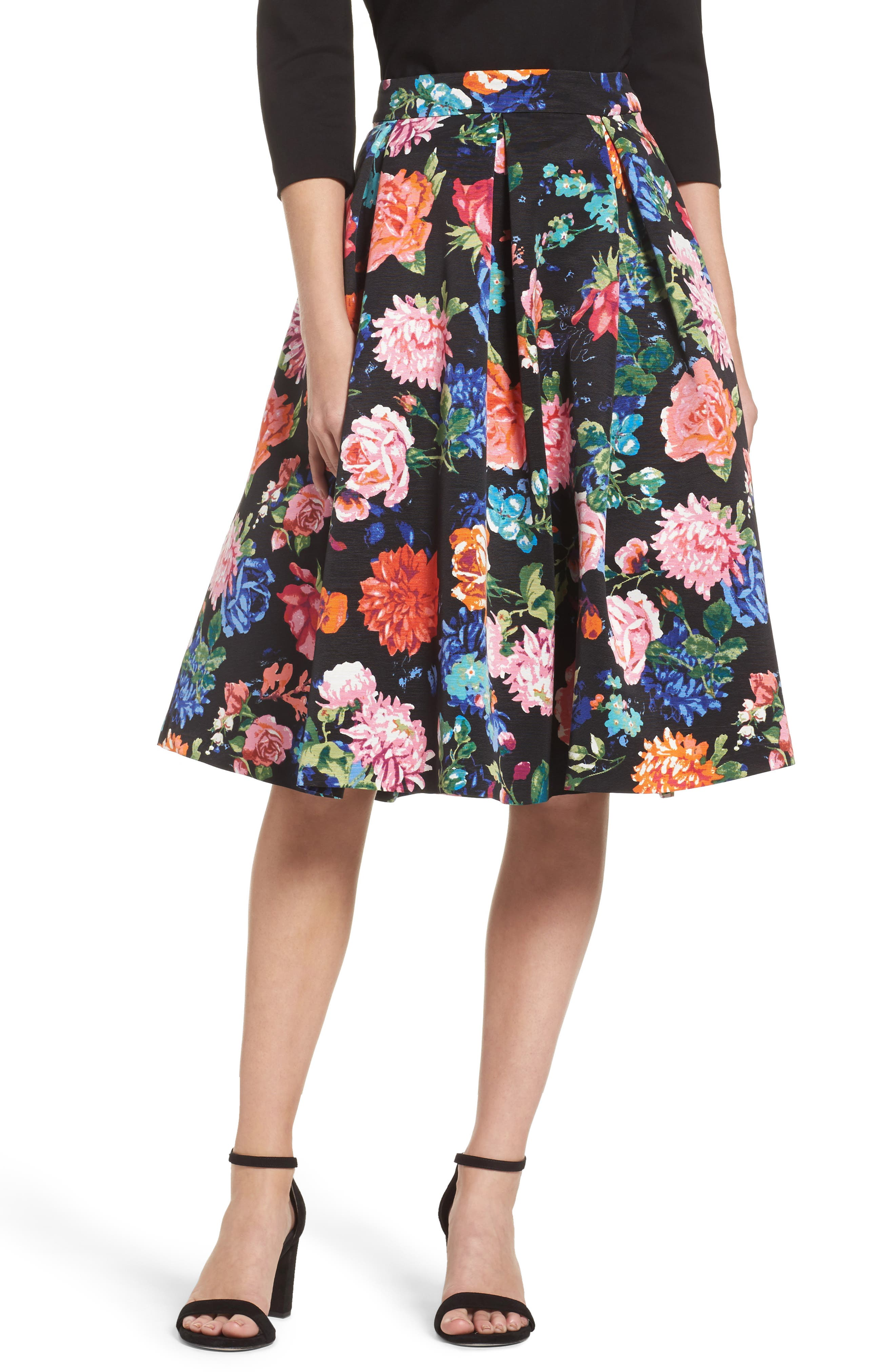 Floral Midi Skirt,                         Main,                         color, Black/ Pink