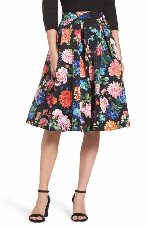 Eliza J Floral Midi Skirt