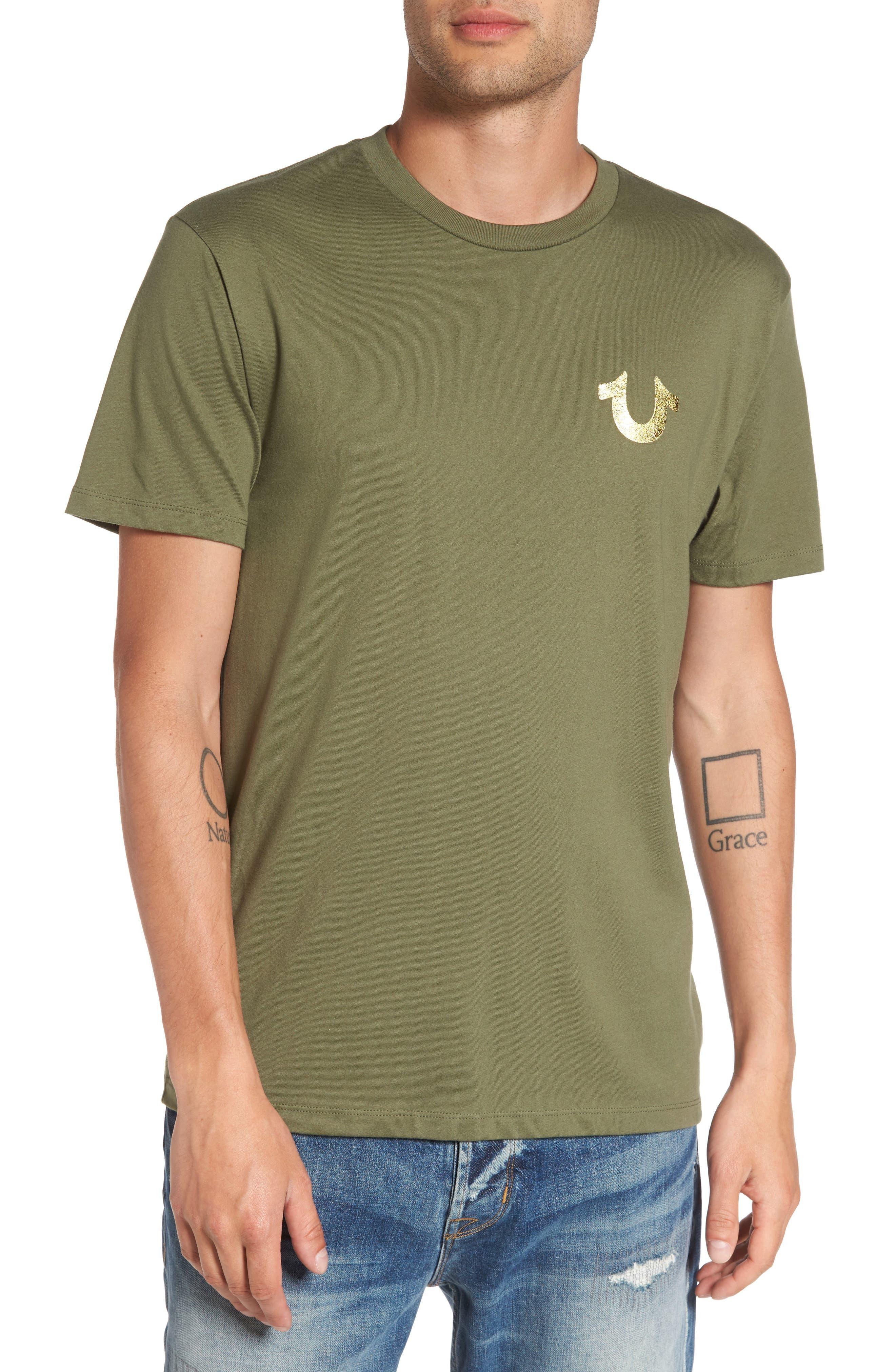 Gold Buddha Graphic T-Shirt,                         Main,                         color, Military Green